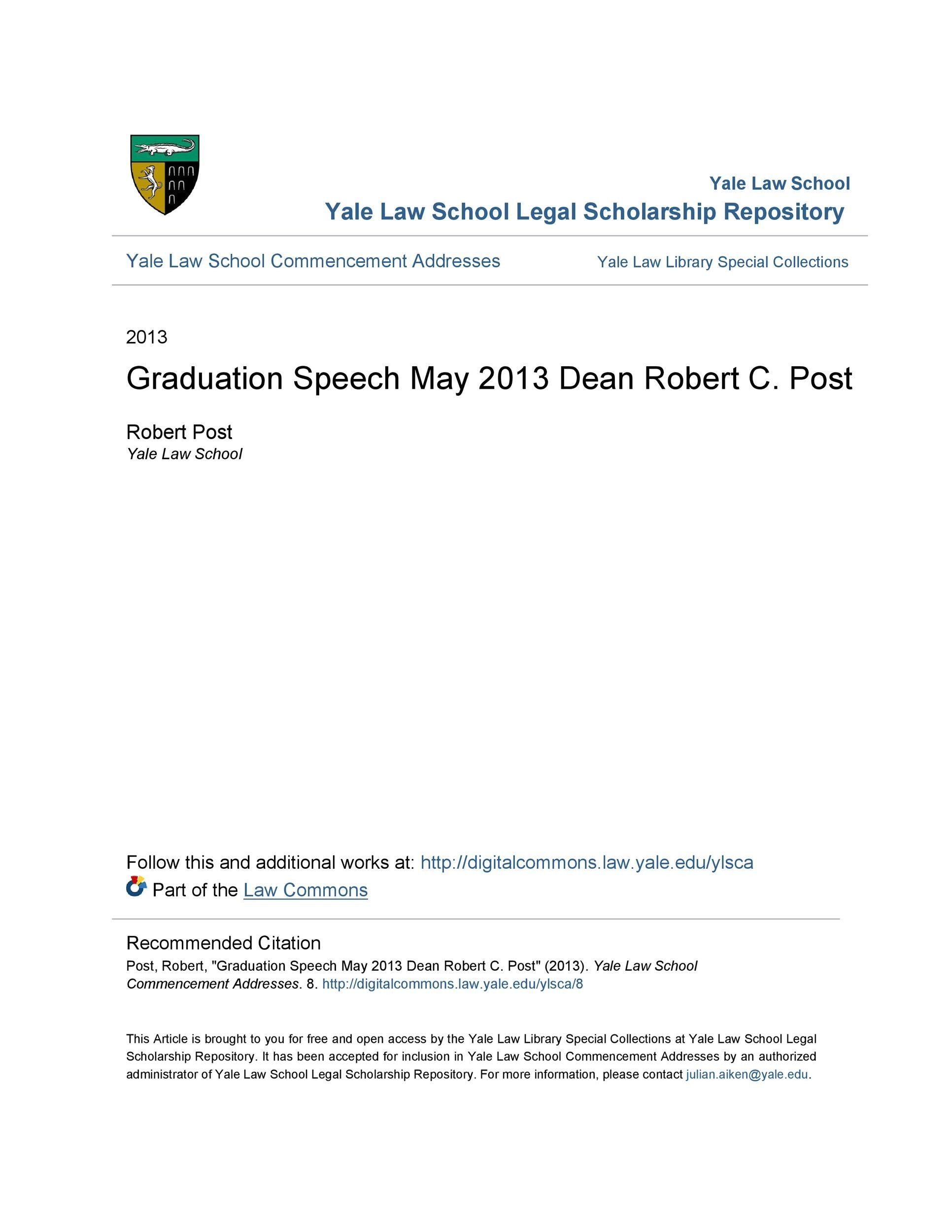 Free graduation speech example 13