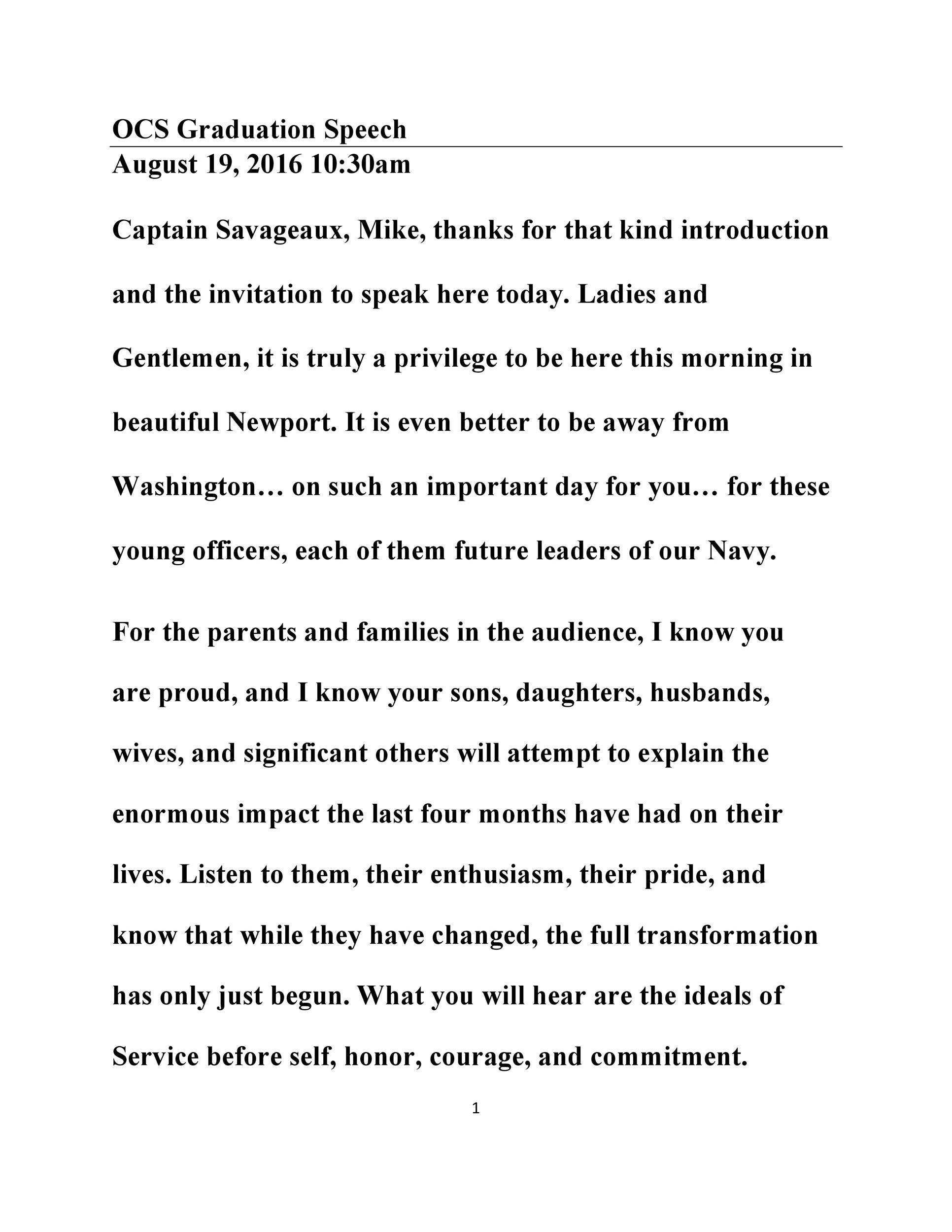 Free graduation speech example 14