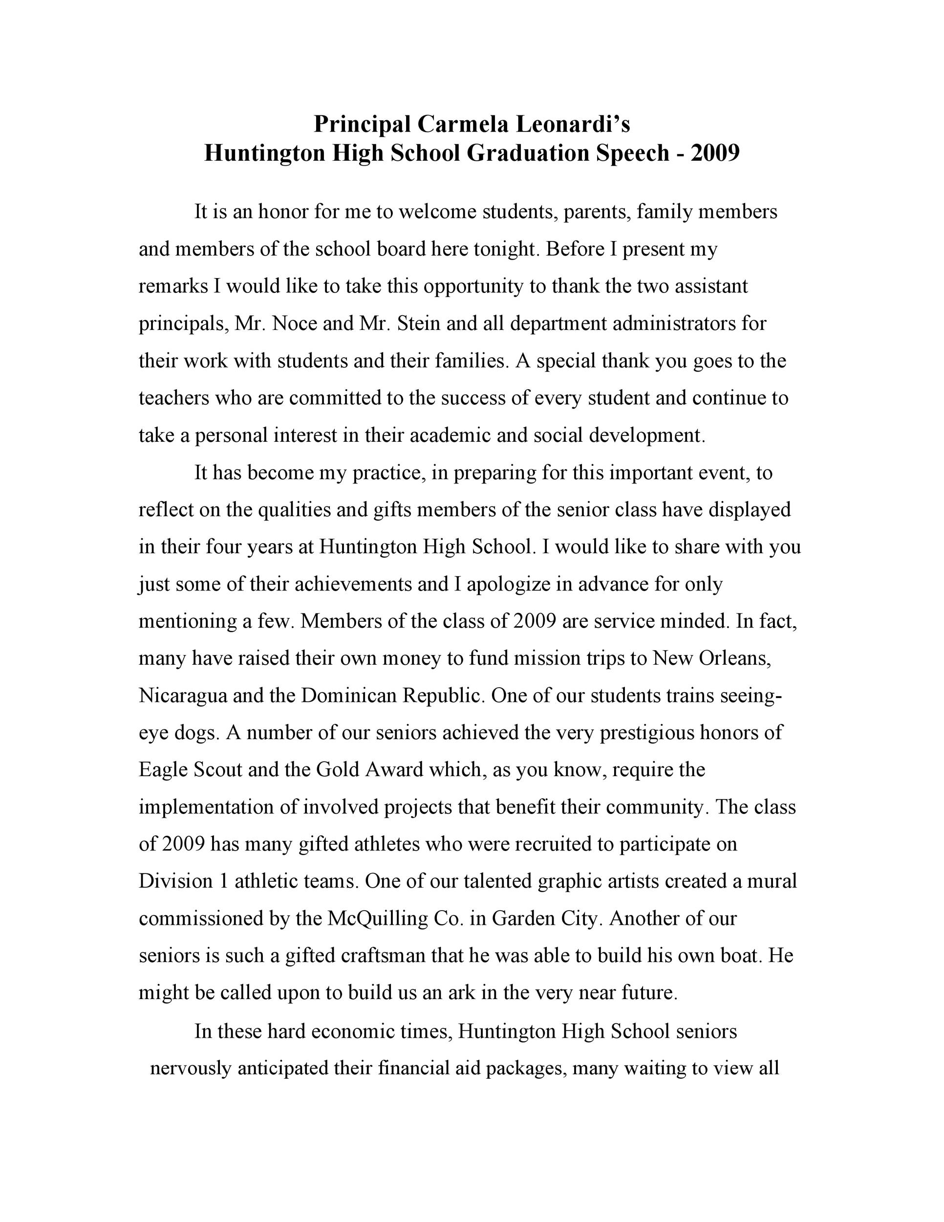Free graduation speech example 15