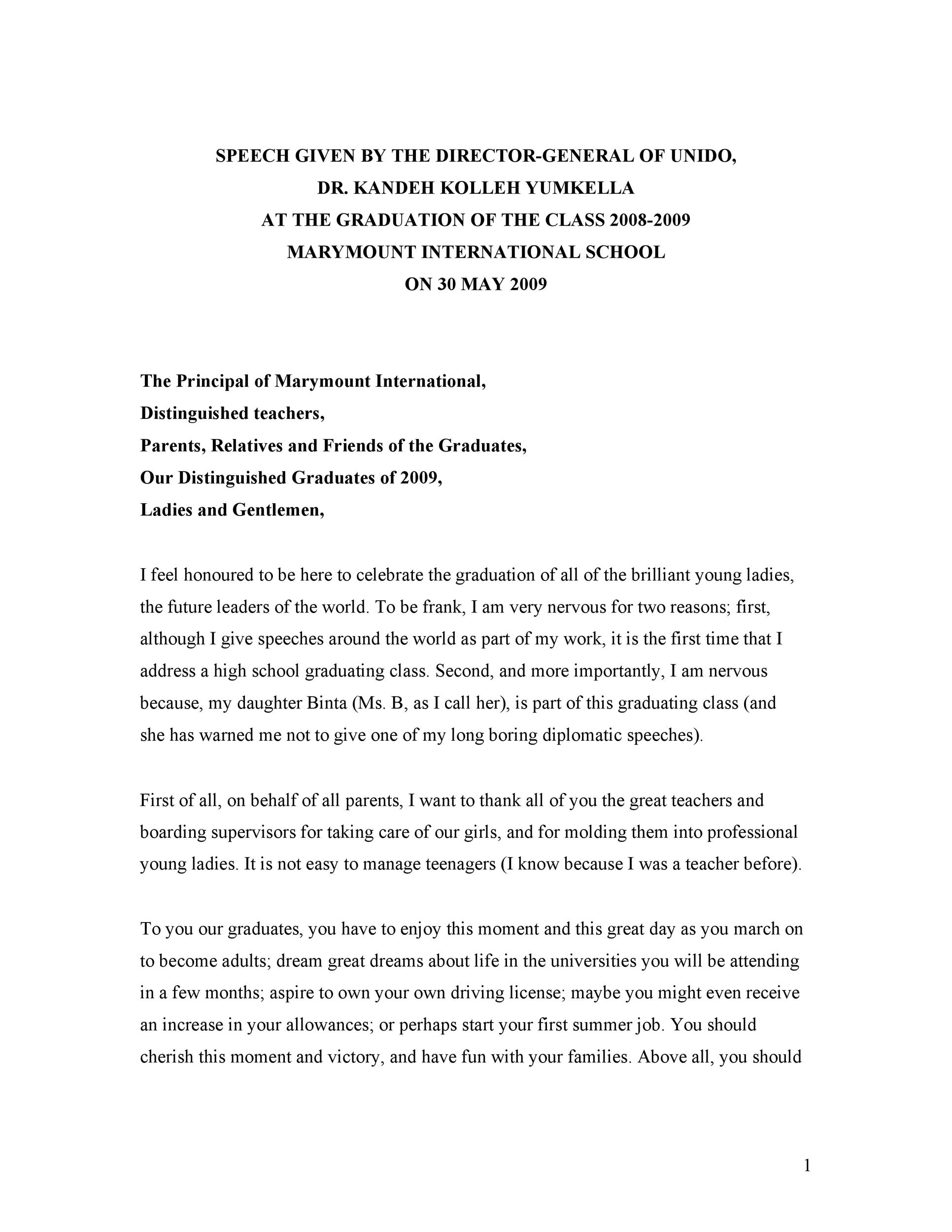 Free graduation speech example 17