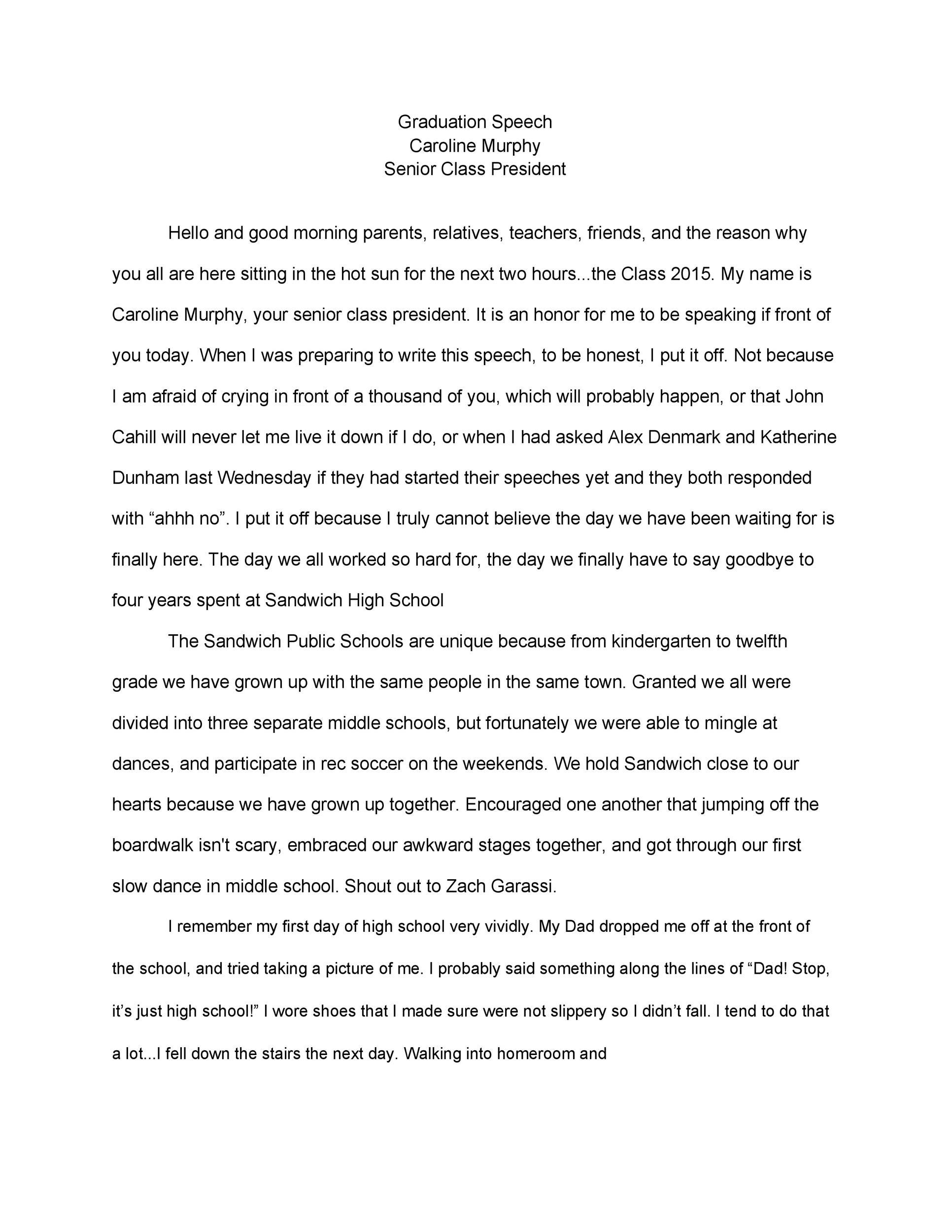 Free graduation speech example 22