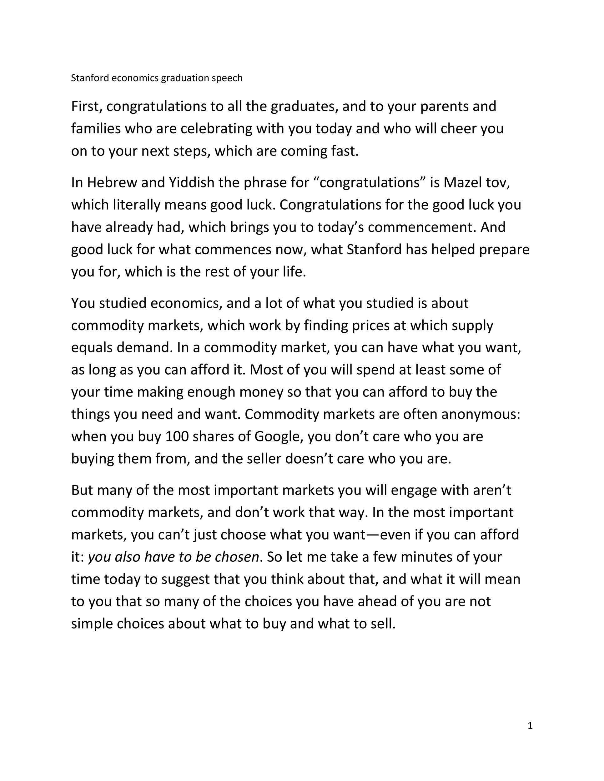 Free graduation speech example 23
