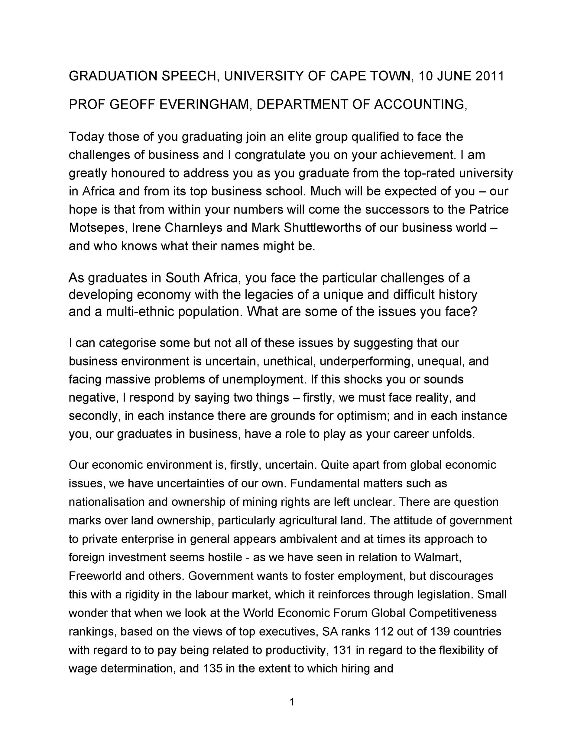 Free graduation speech example 24