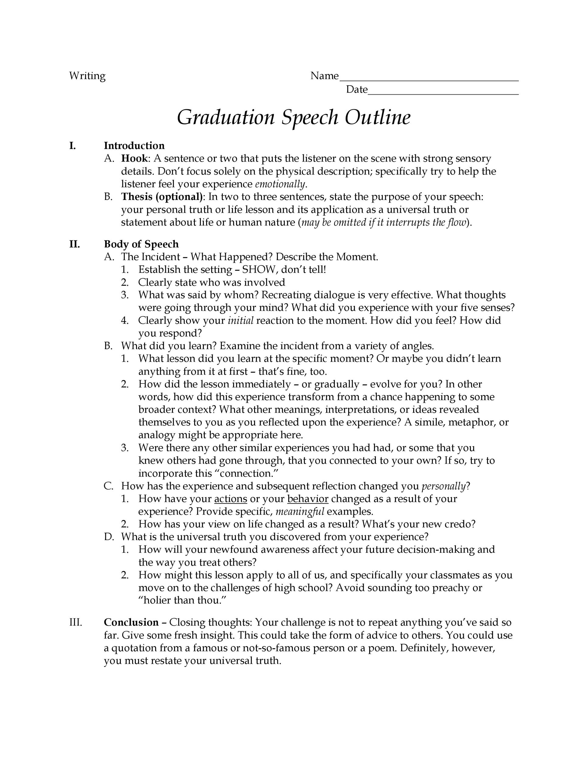 Free graduation speech example 28