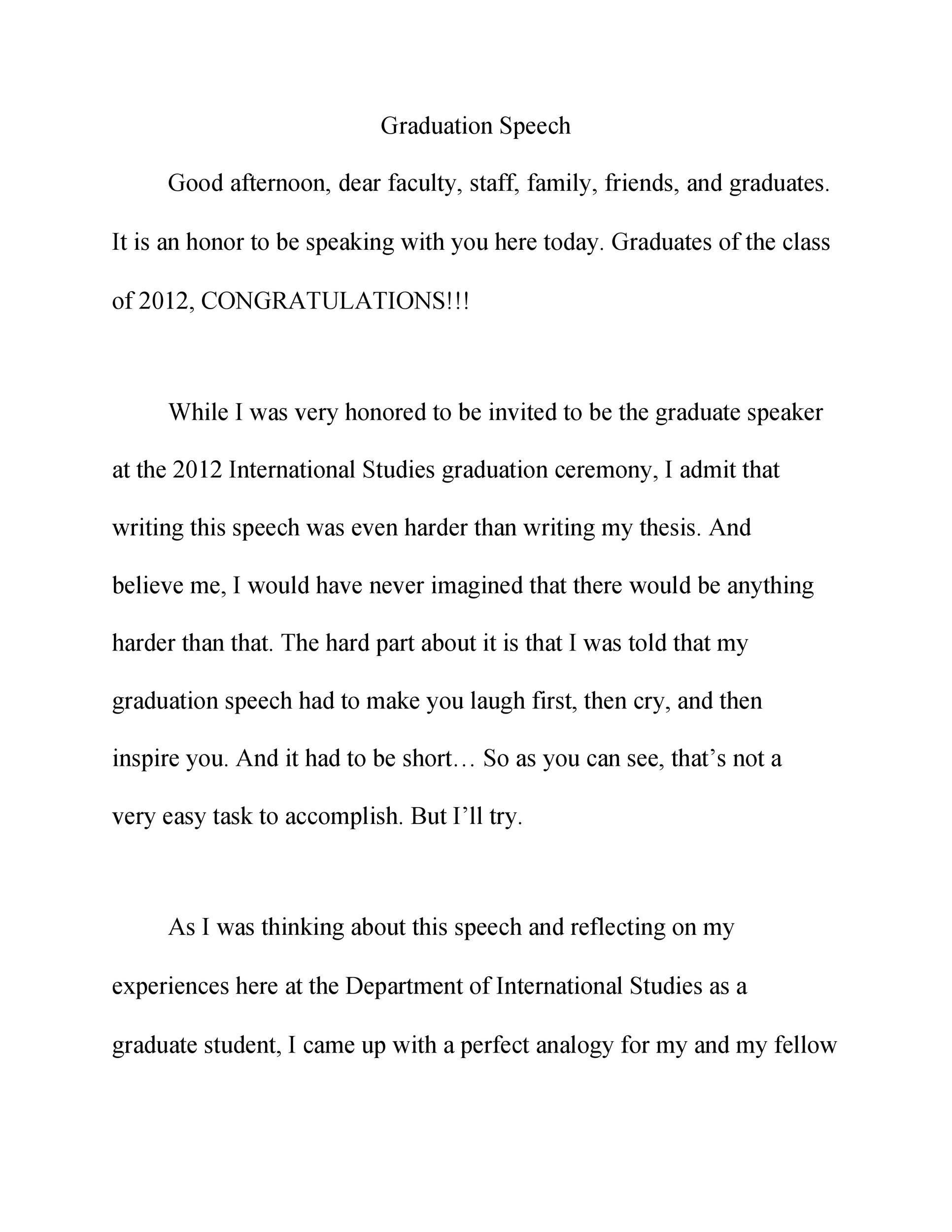 Free graduation speech example 31