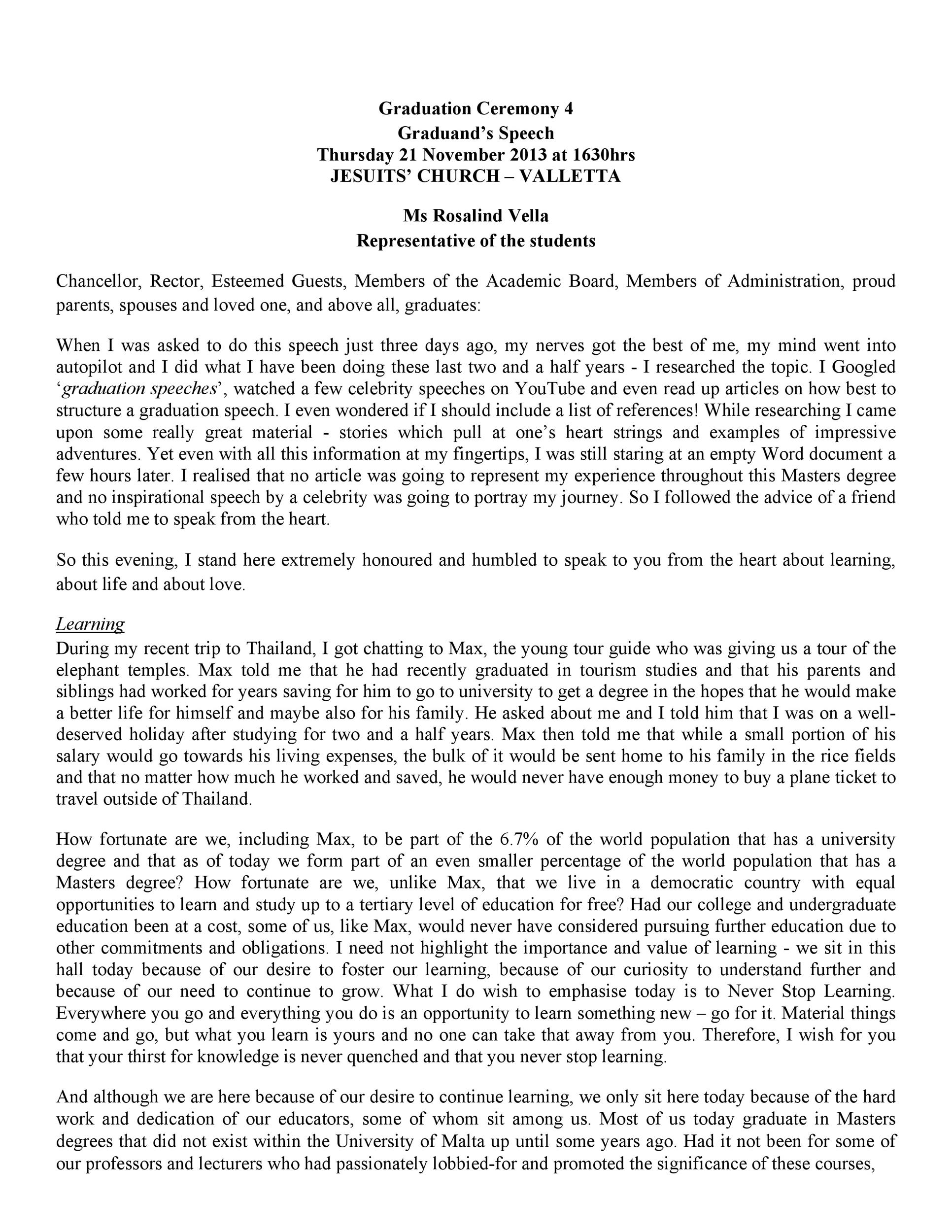 Free graduation speech example 35