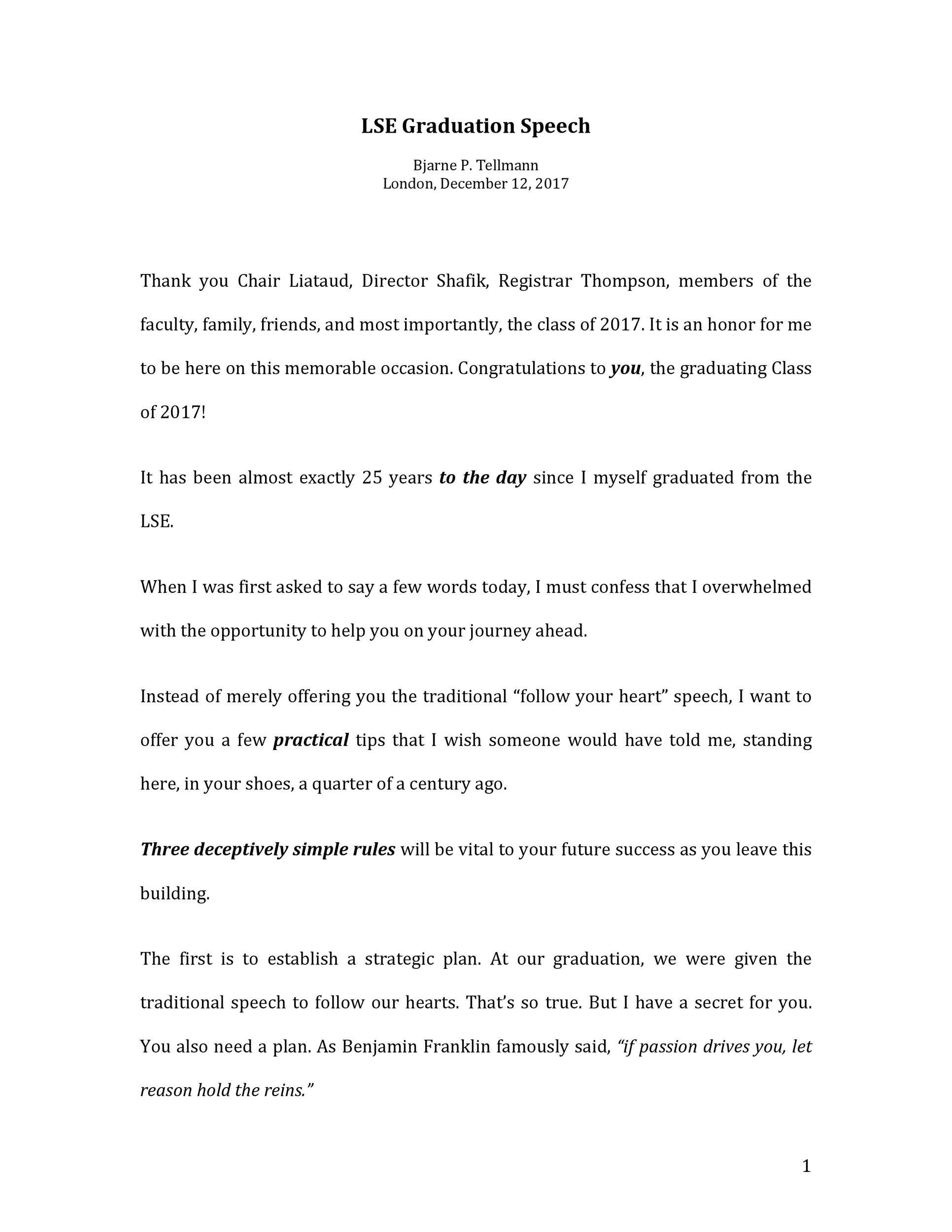 Free graduation speech example 36