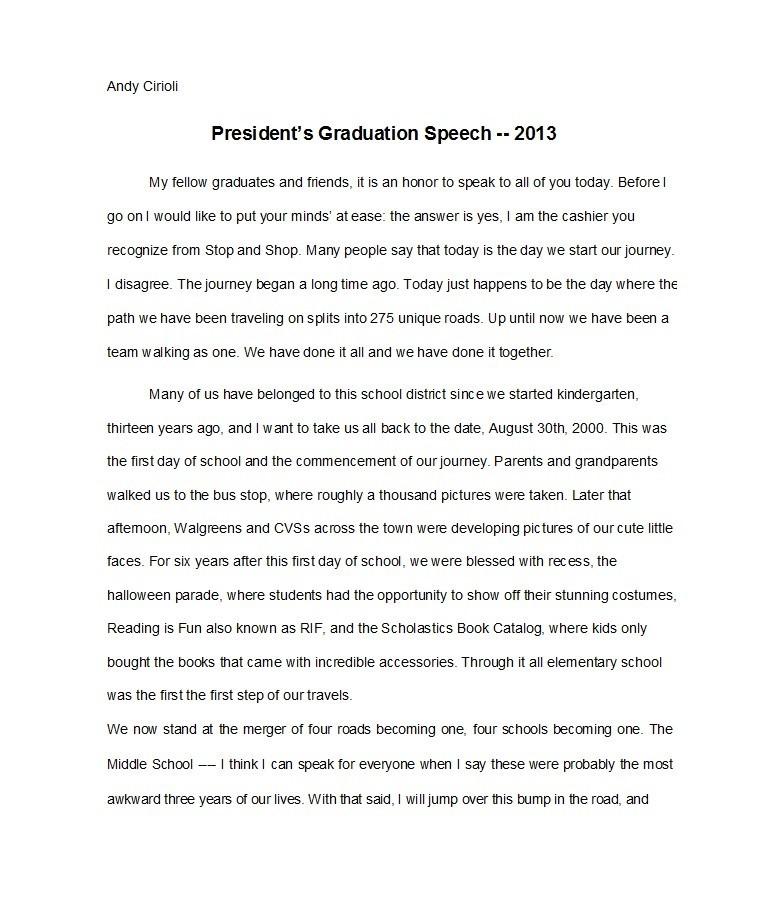 Free graduation speech example 43