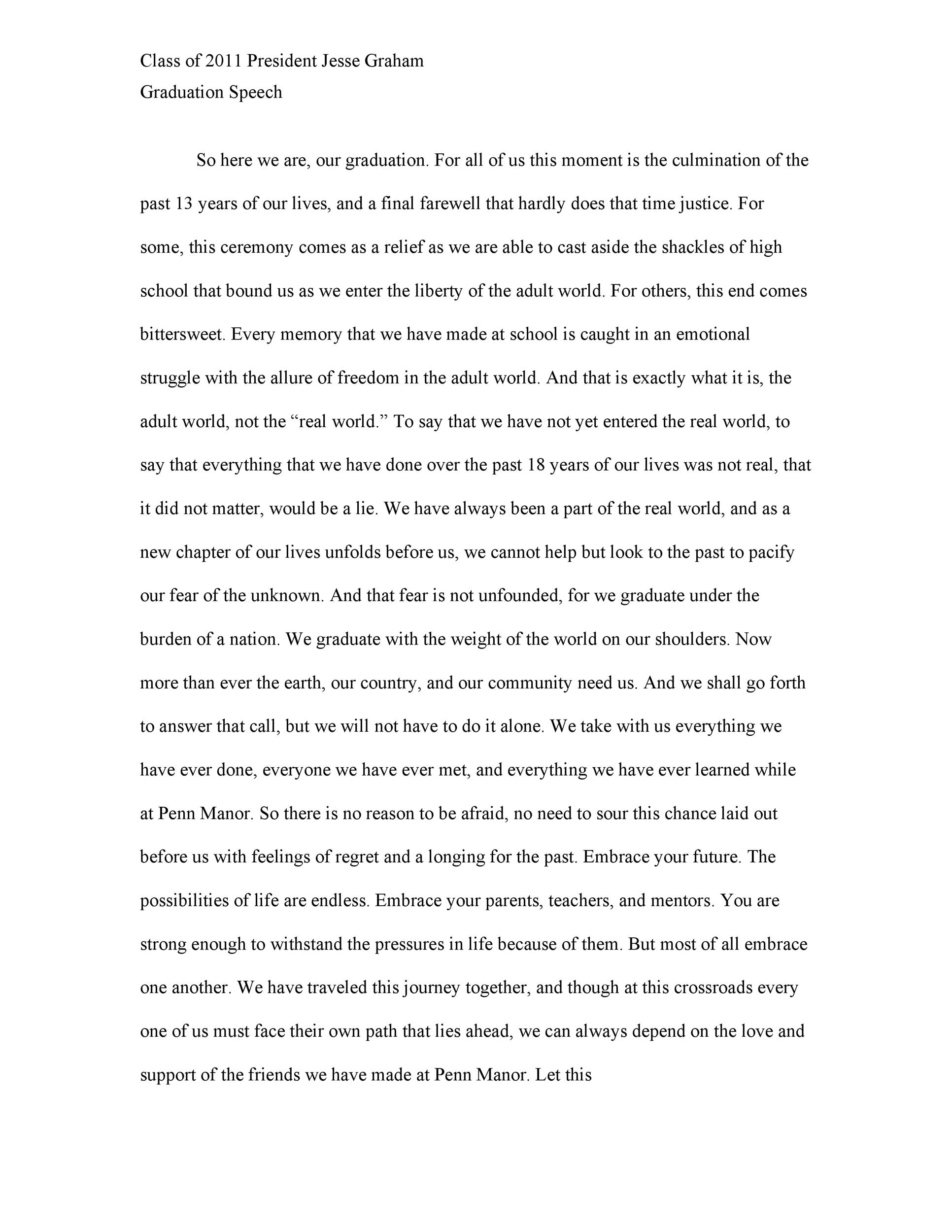 Free graduation speech example 45