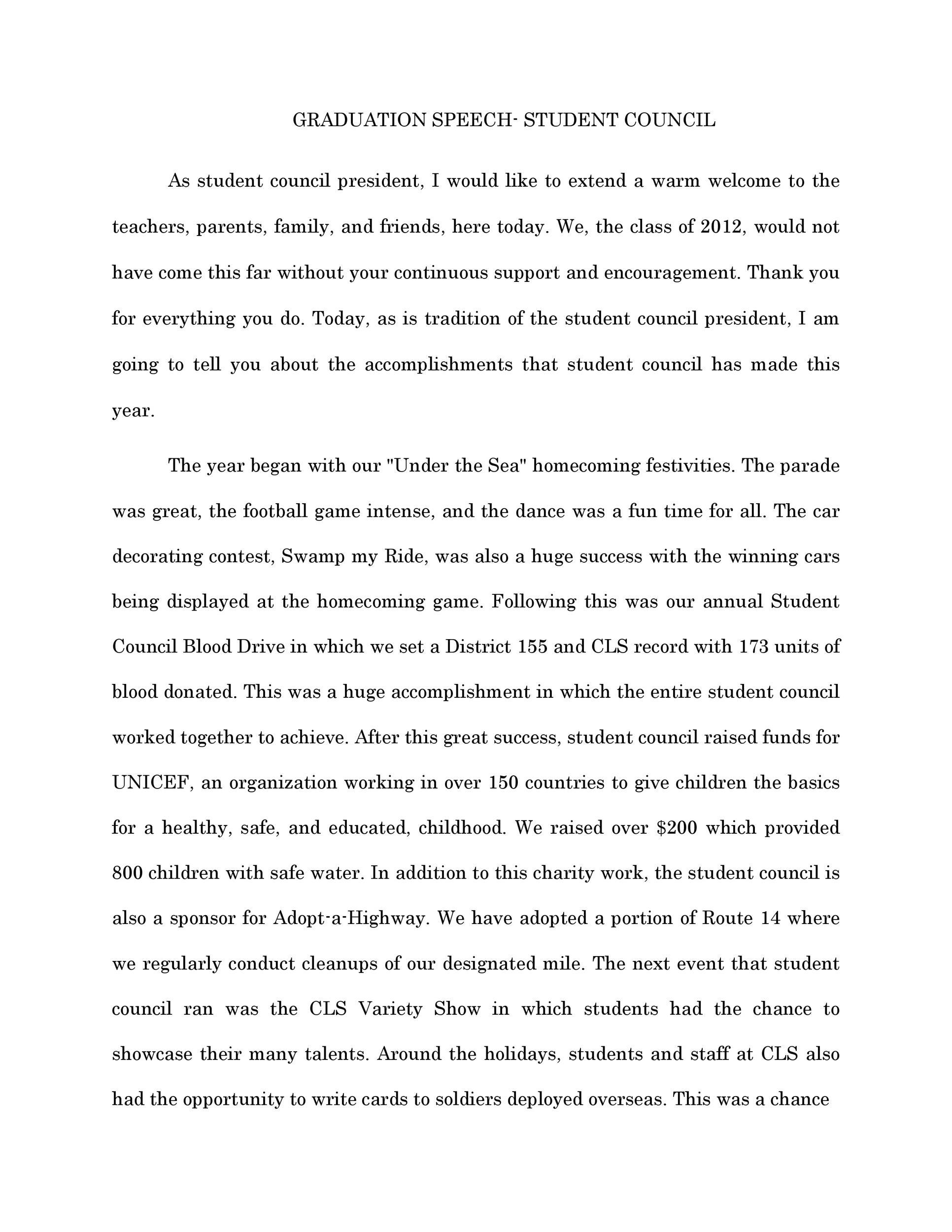 Free graduation speech example 46