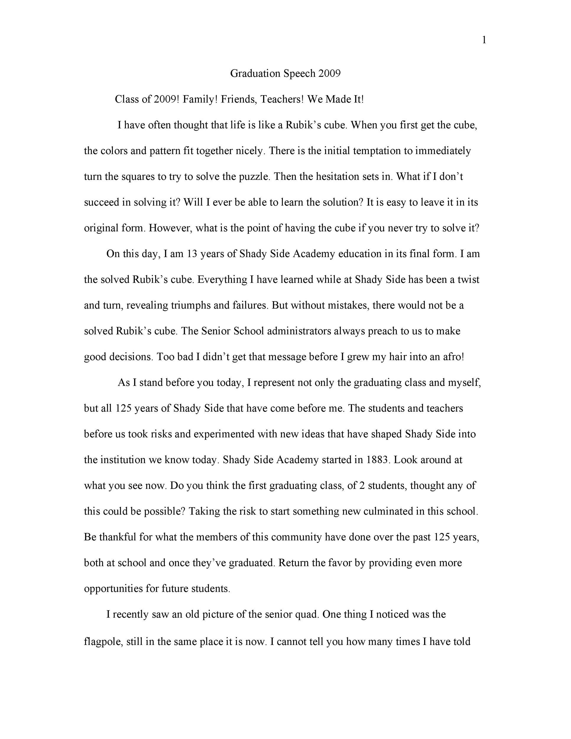 Free graduation speech example 49