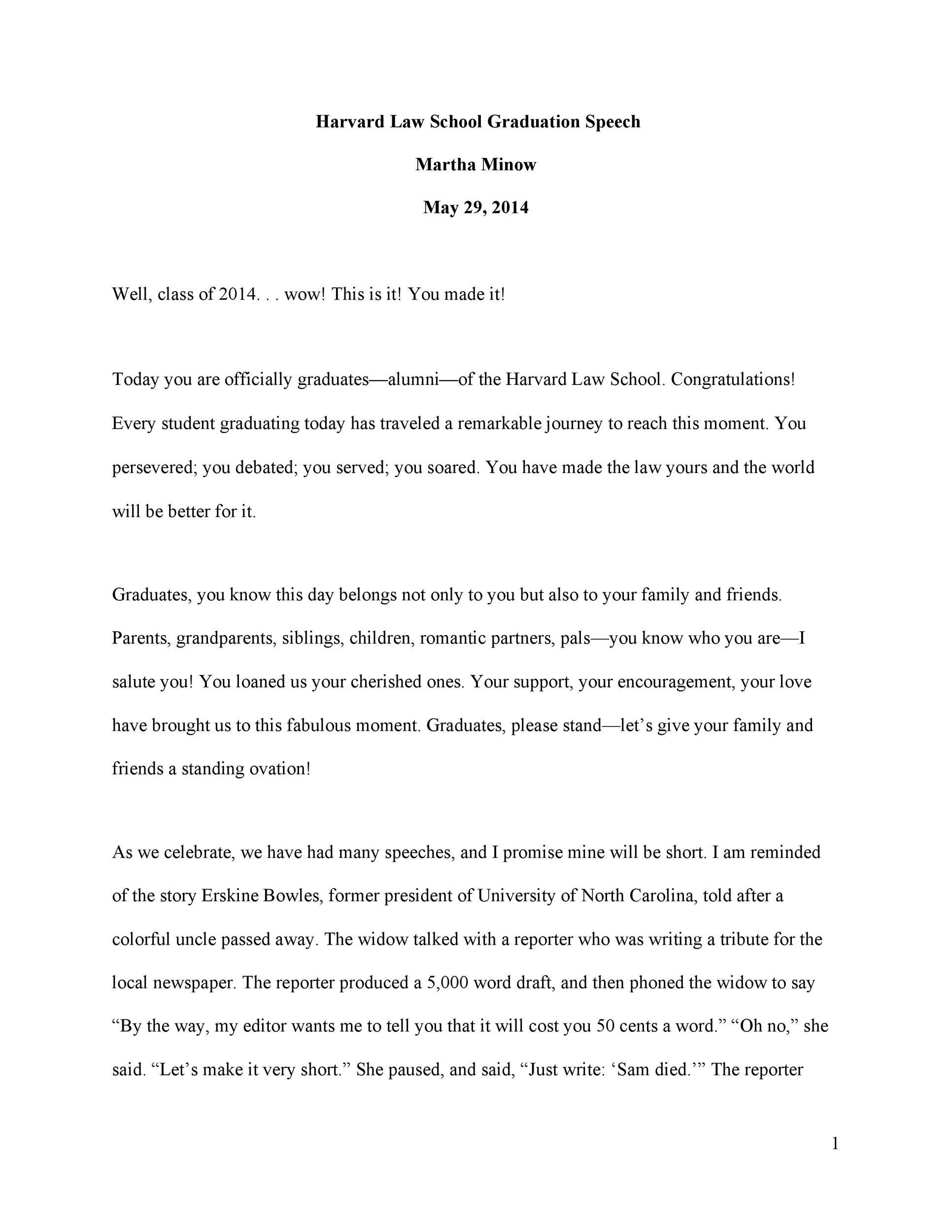 Free graduation speech example 50
