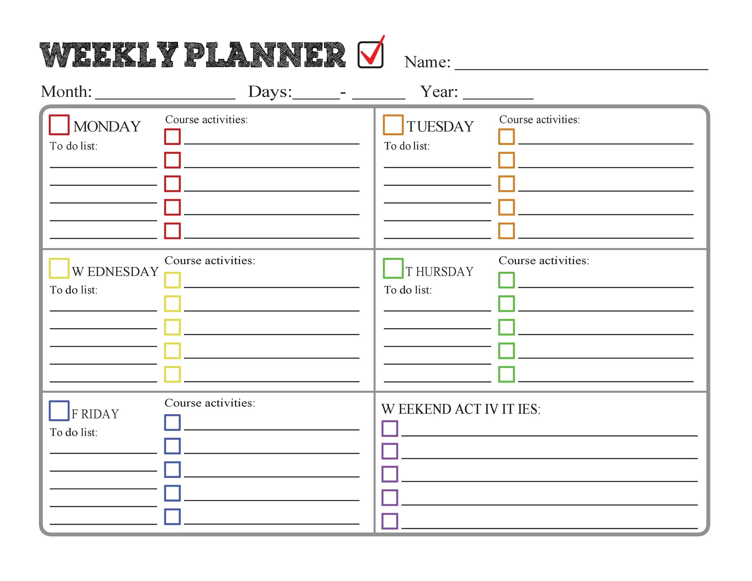 picture about Printable Homework Planner identified as 37 Printable Research Planners (Merely the Ideal) ᐅ Template Lab