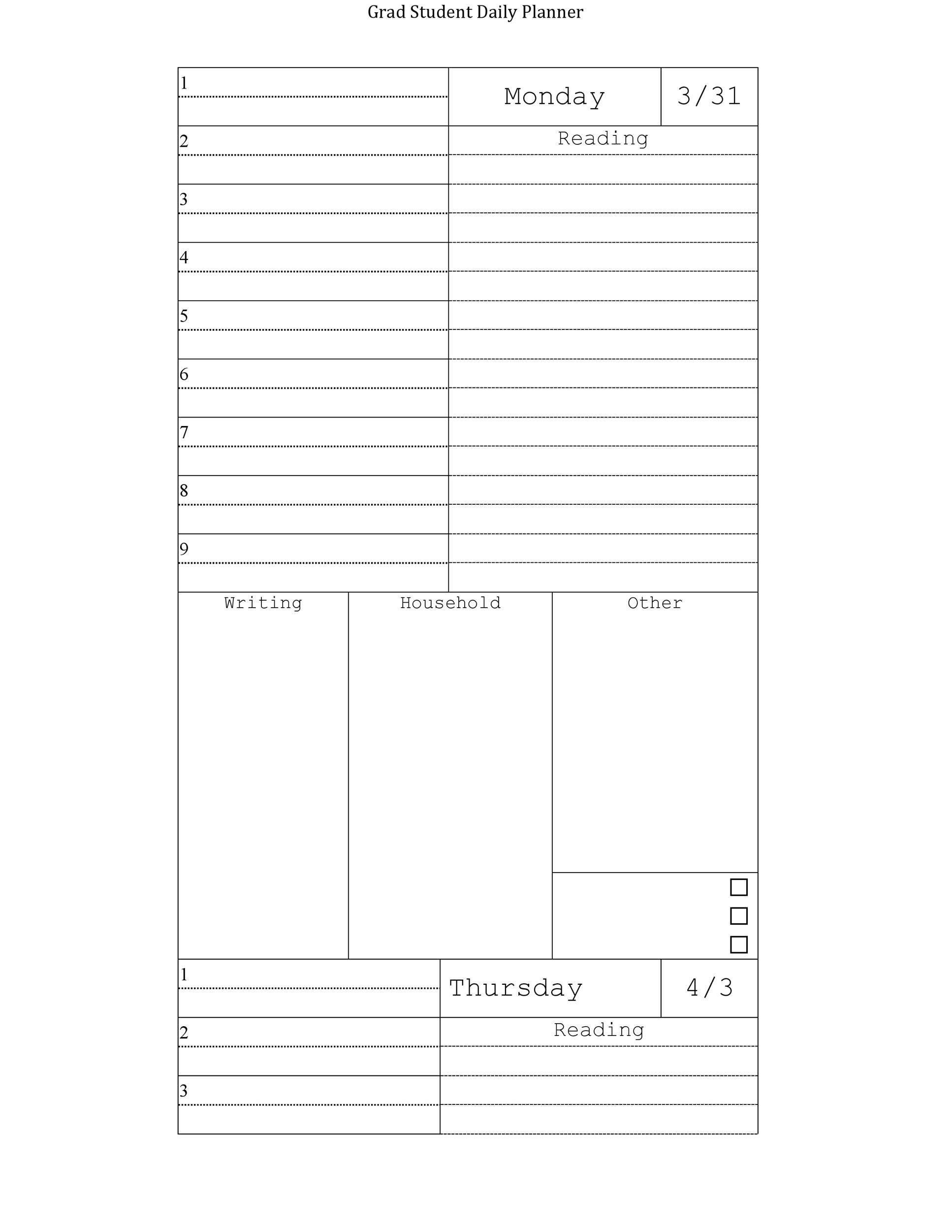 Free homework planner 14