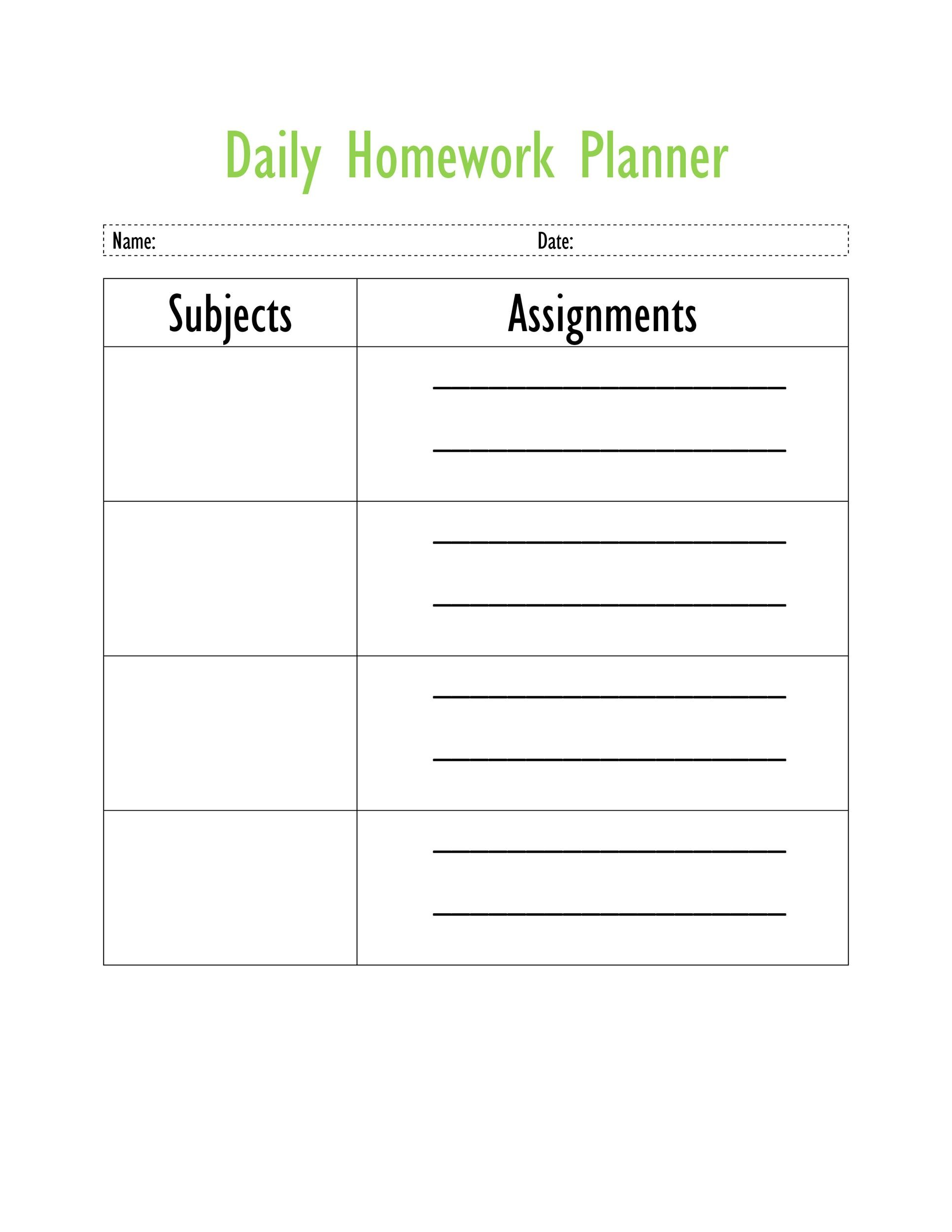 Free homework planner 16