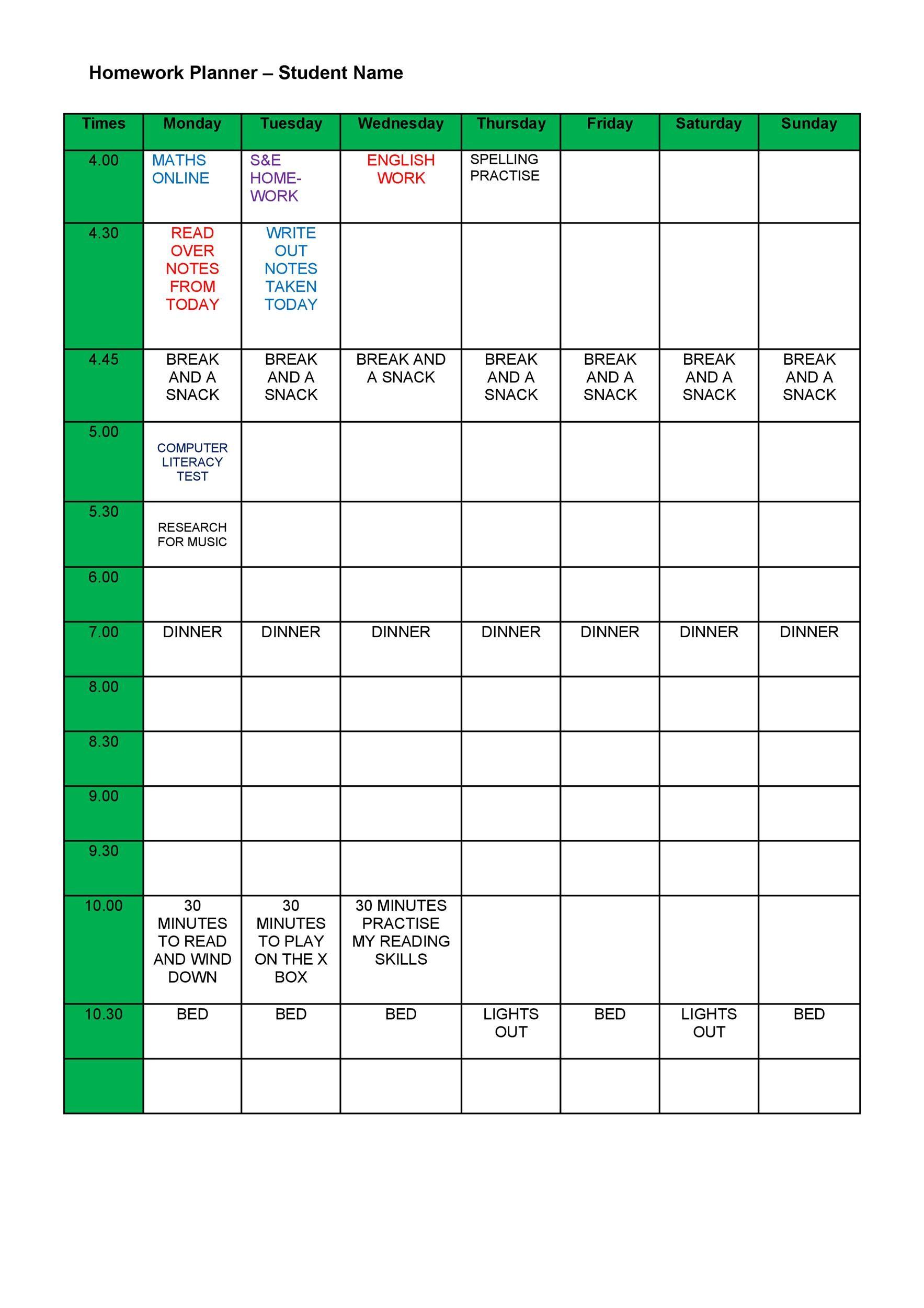 Free homework planner 17