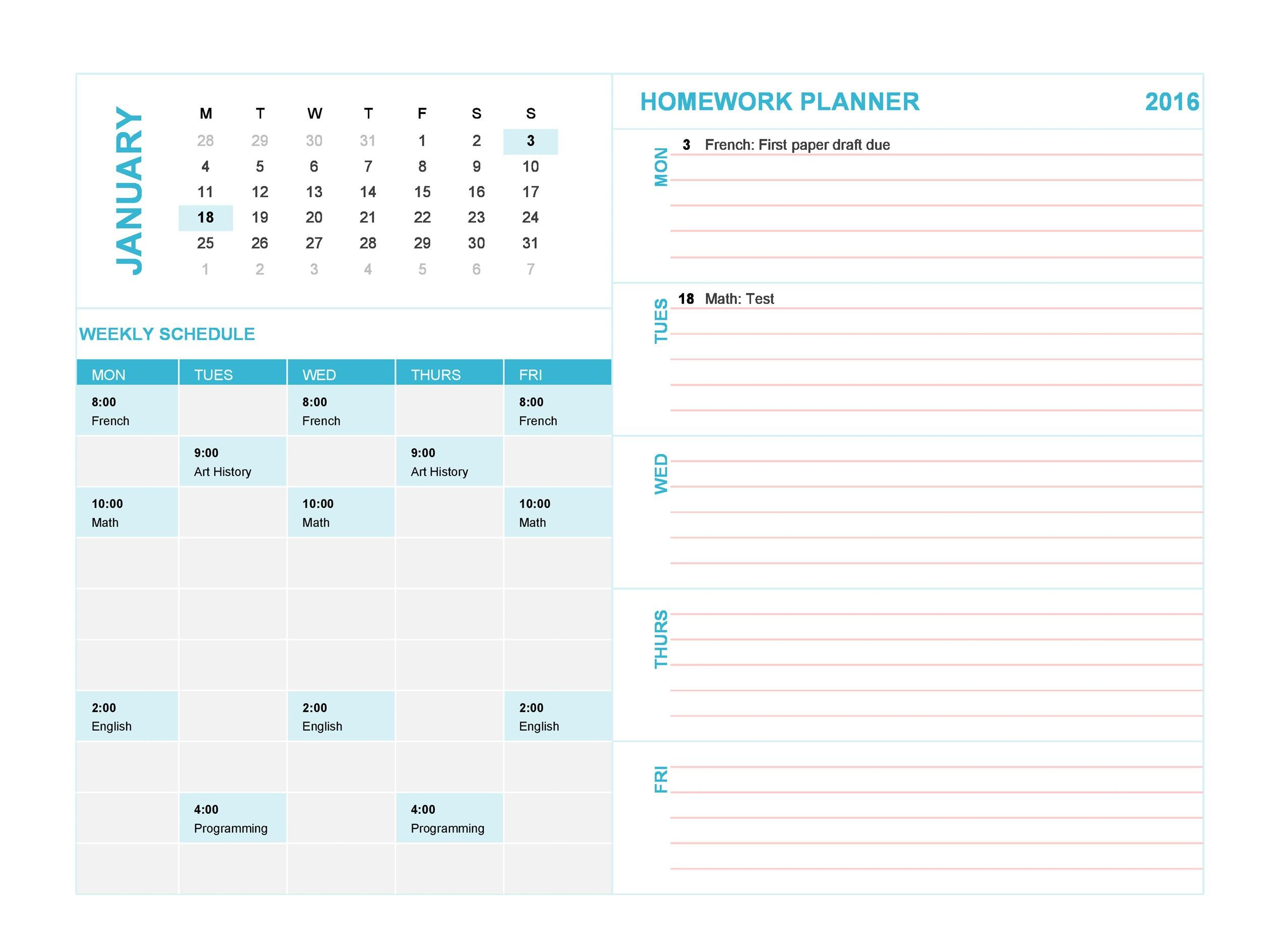 Free homework planner 18