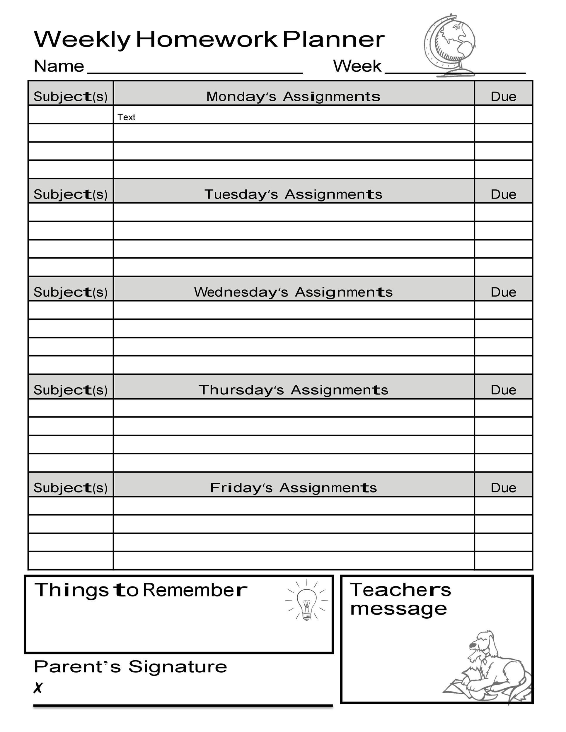Free homework planner 30