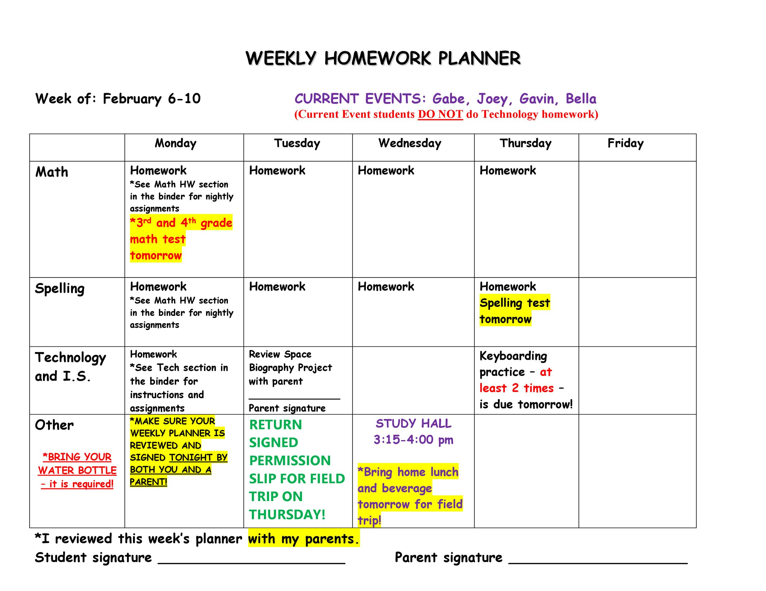 Free homework planner 32