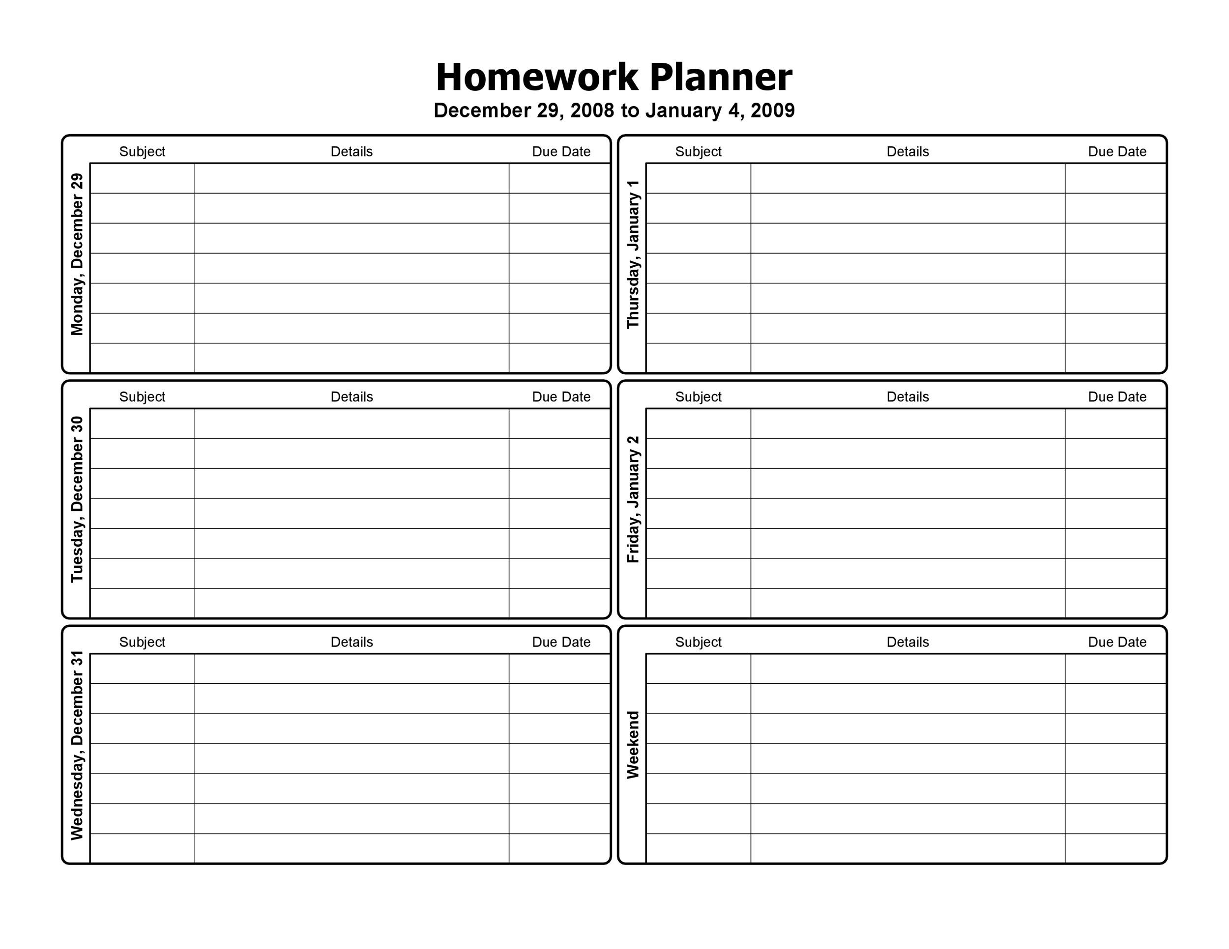 graphic relating to Printable Homework Planner titled 37 Printable Research Planners (Simply just the Least complicated) ᐅ Template Lab