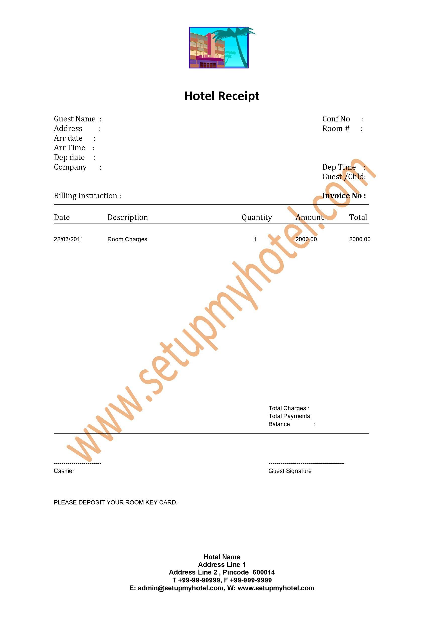 Free hotel receipt 07
