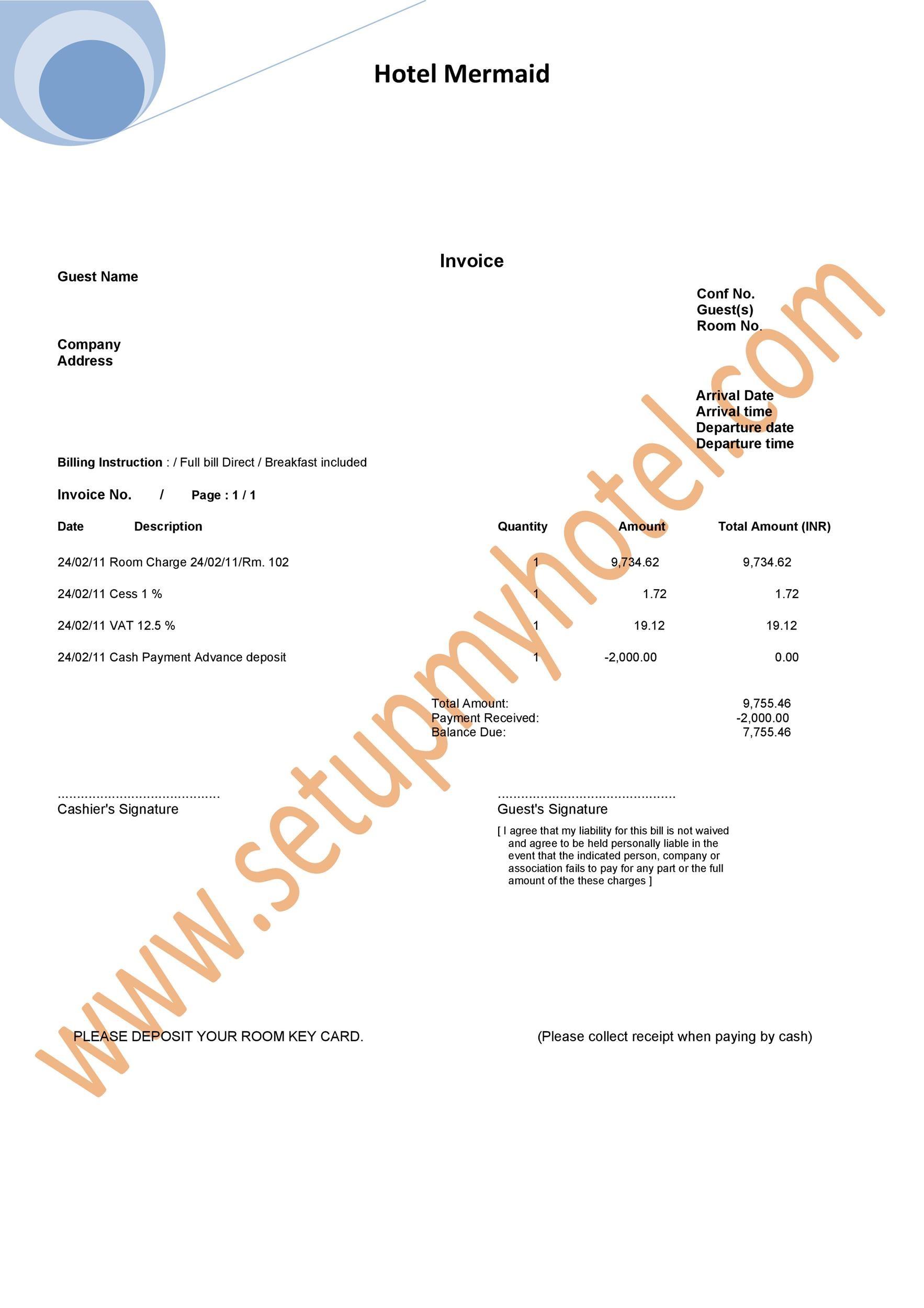 Free hotel receipt 08