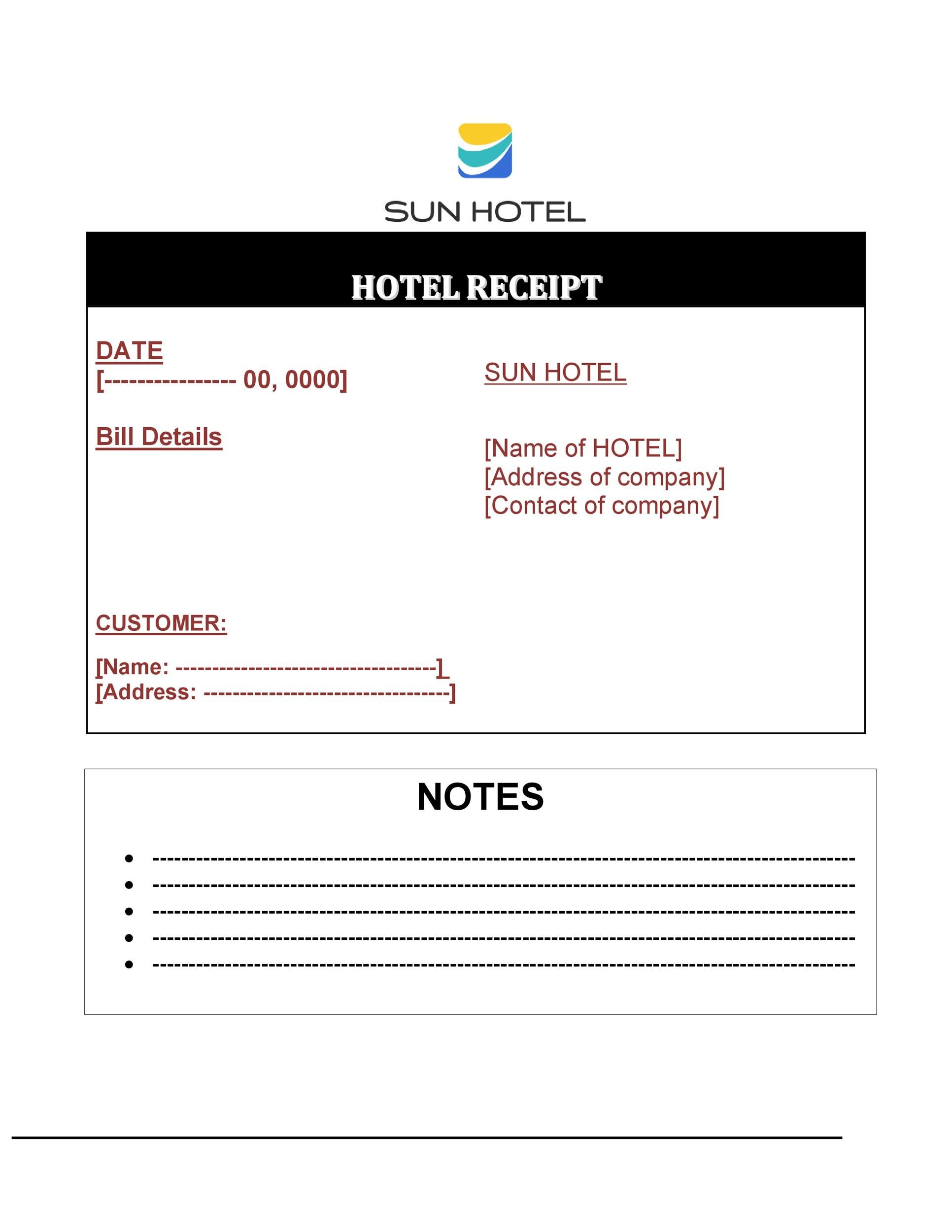 Free hotel receipt 14