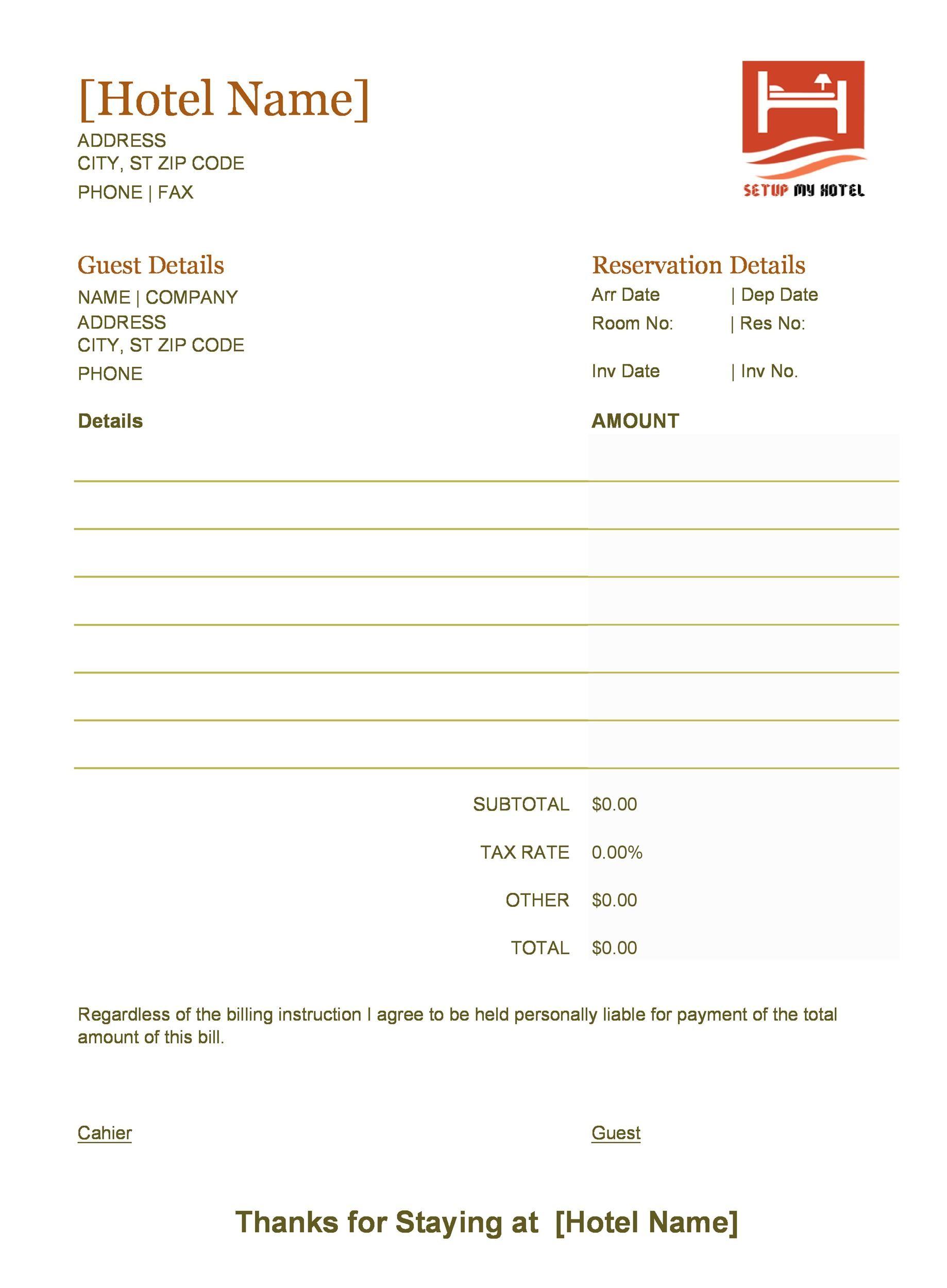 Free hotel receipt 23