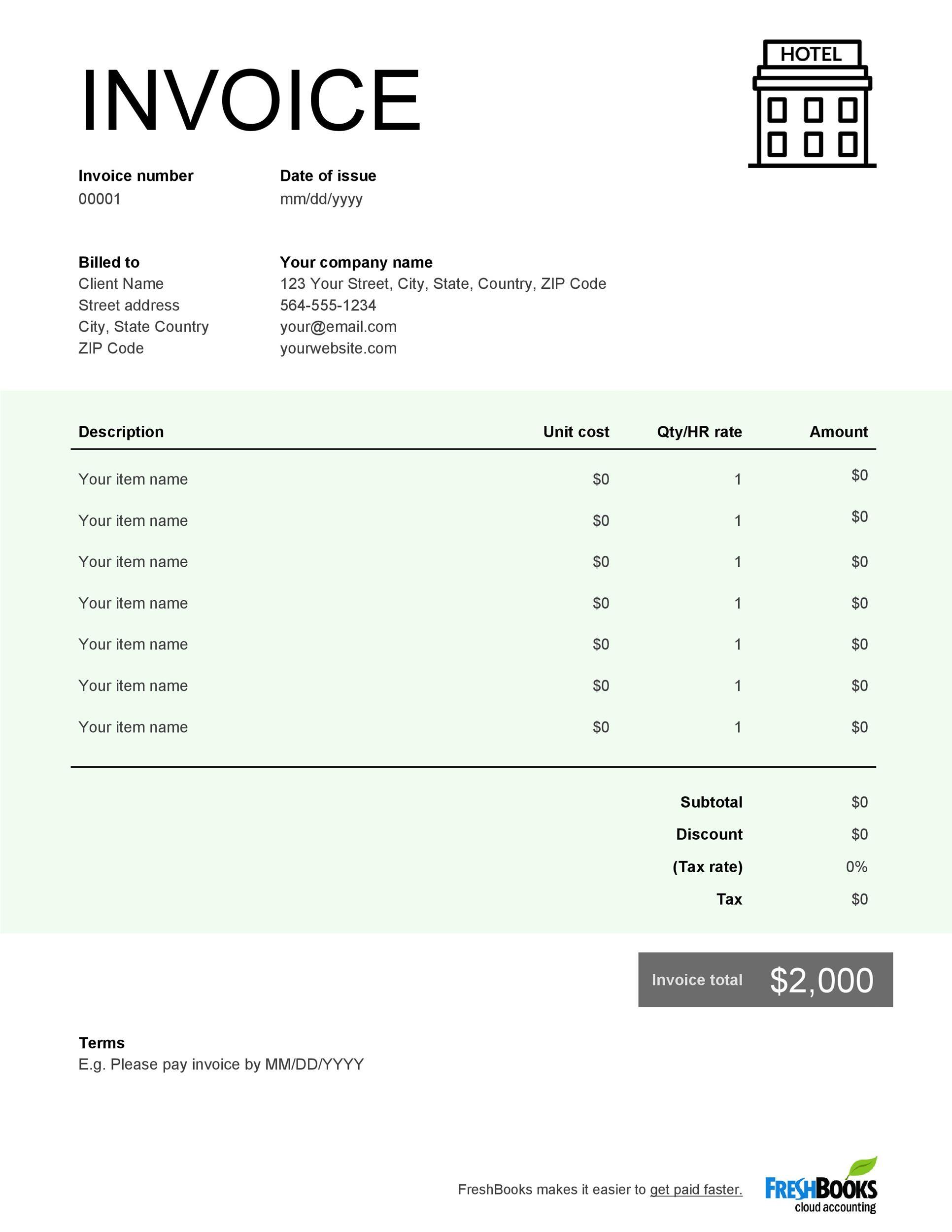 Free hotel receipt 28