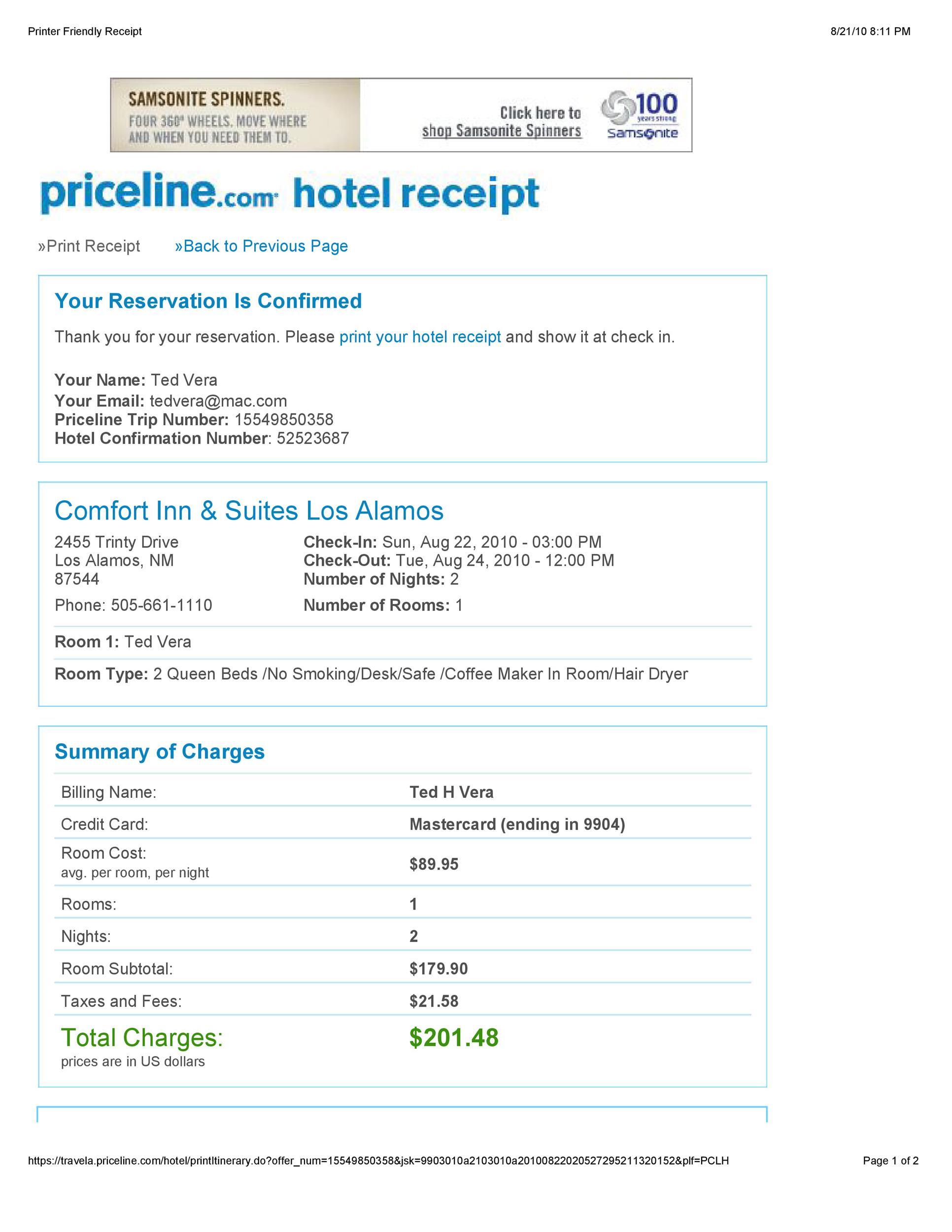 Free hotel receipt 32