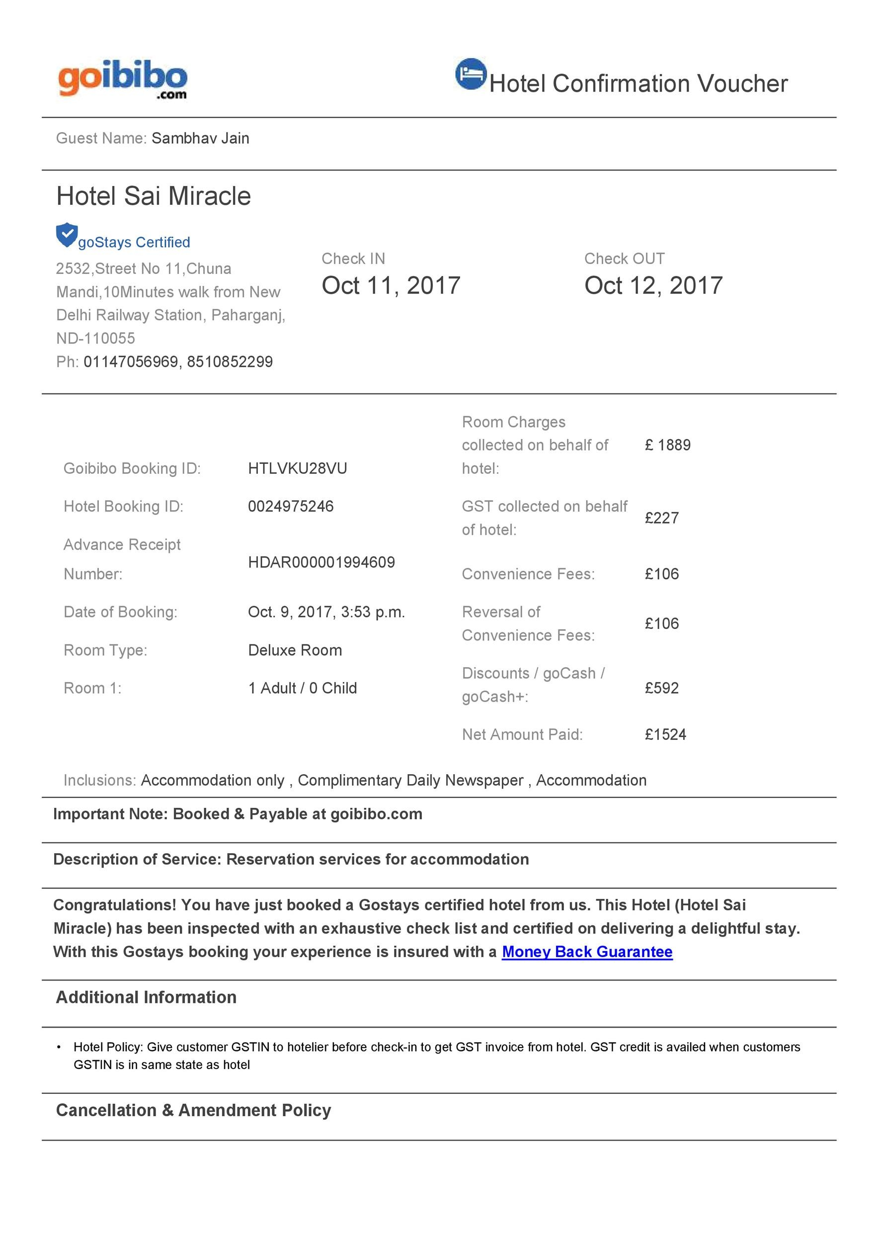 Free hotel receipt 35