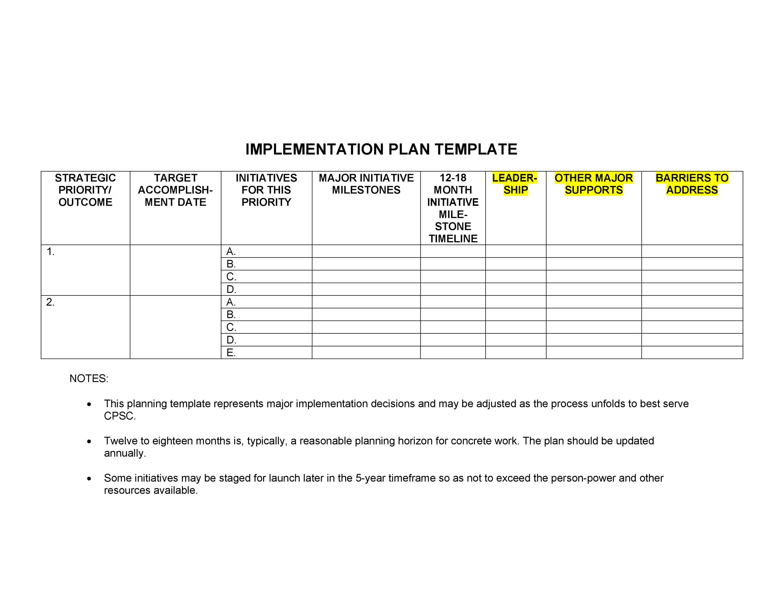 Free implementation plan 16