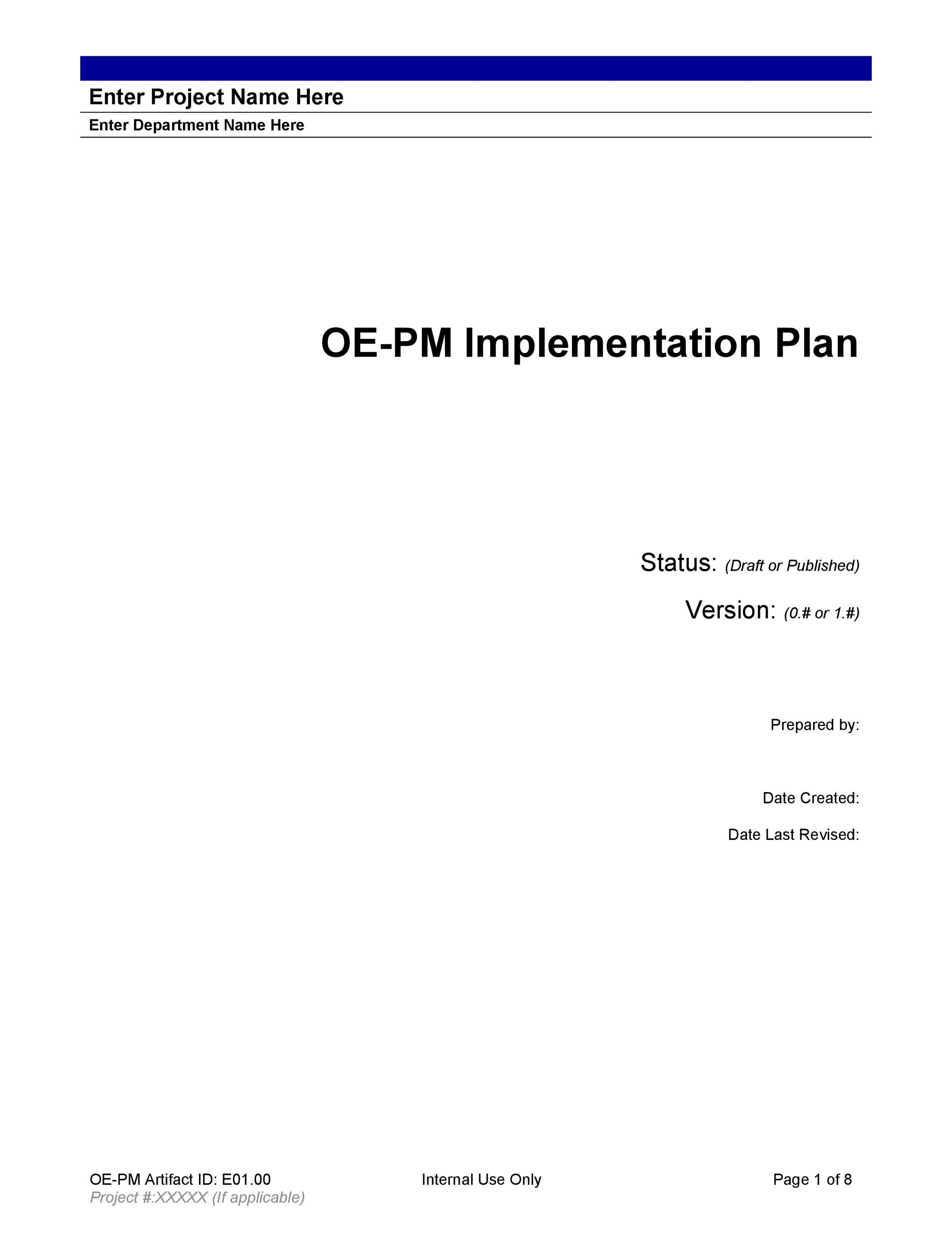 Free implementation plan 19