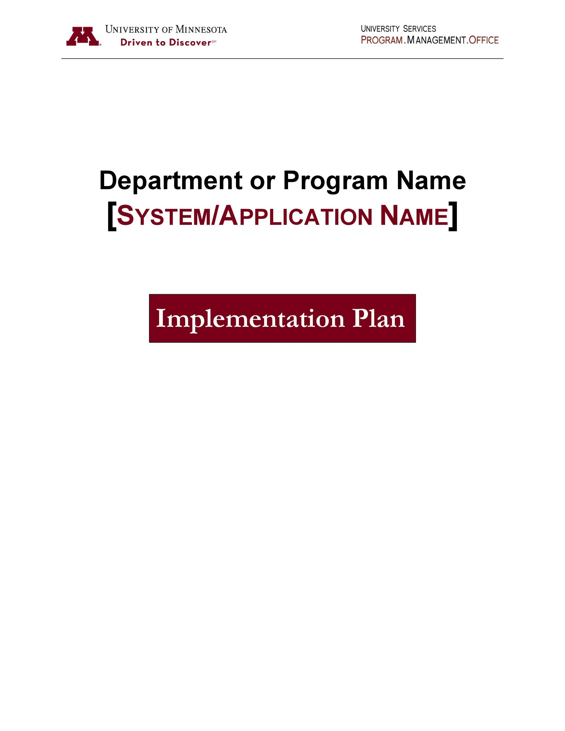 Free implementation plan 20