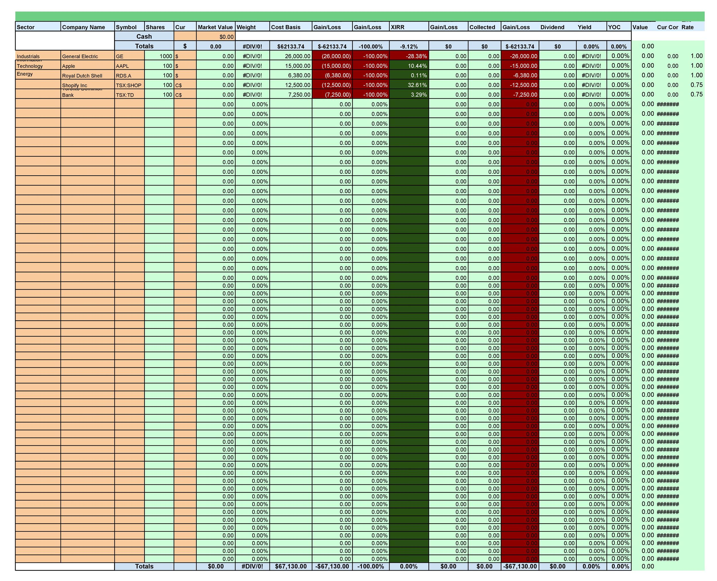 Investment Tracking Spreadsheets