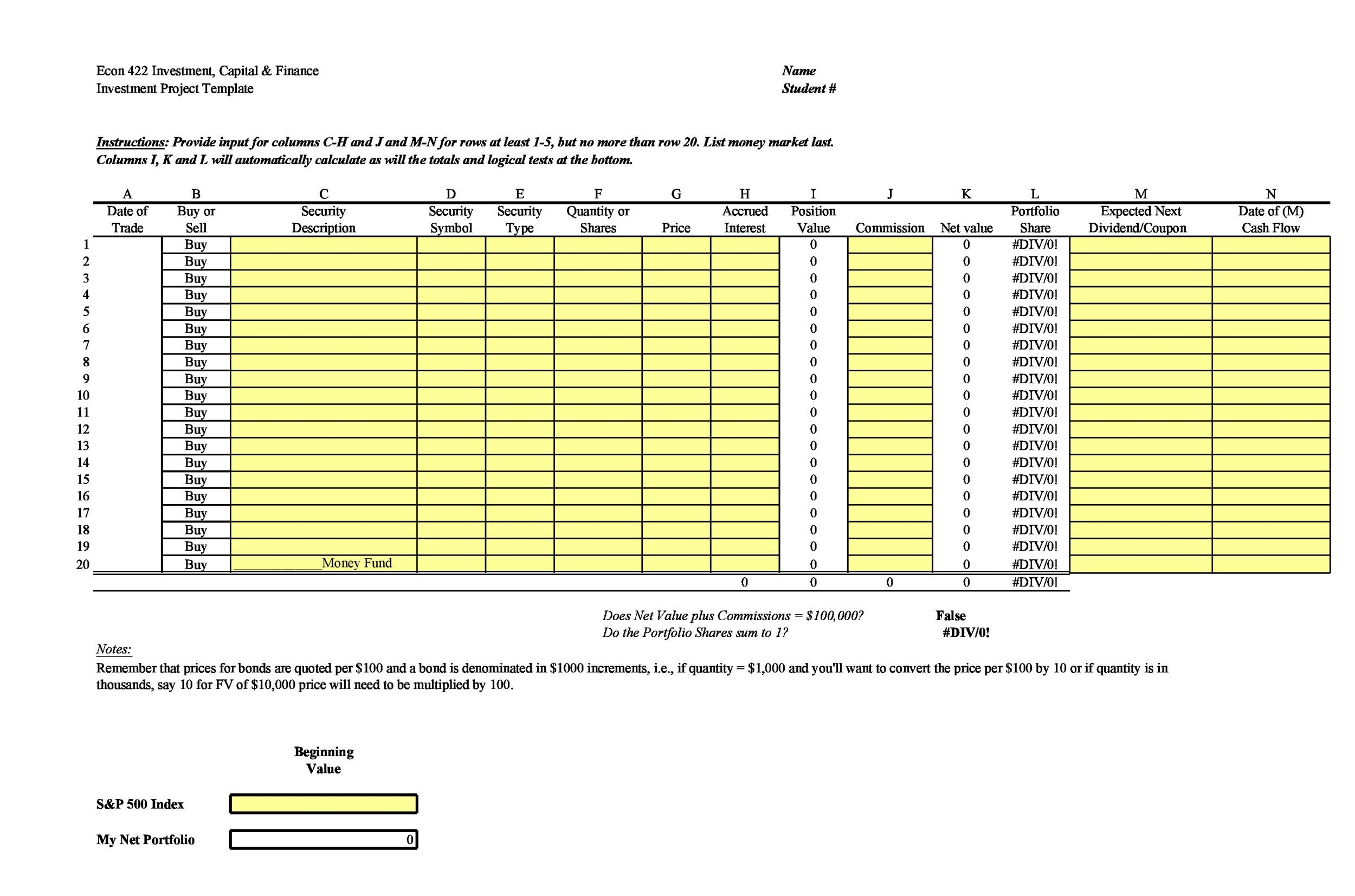 Free investment tracking spreadsheet 20
