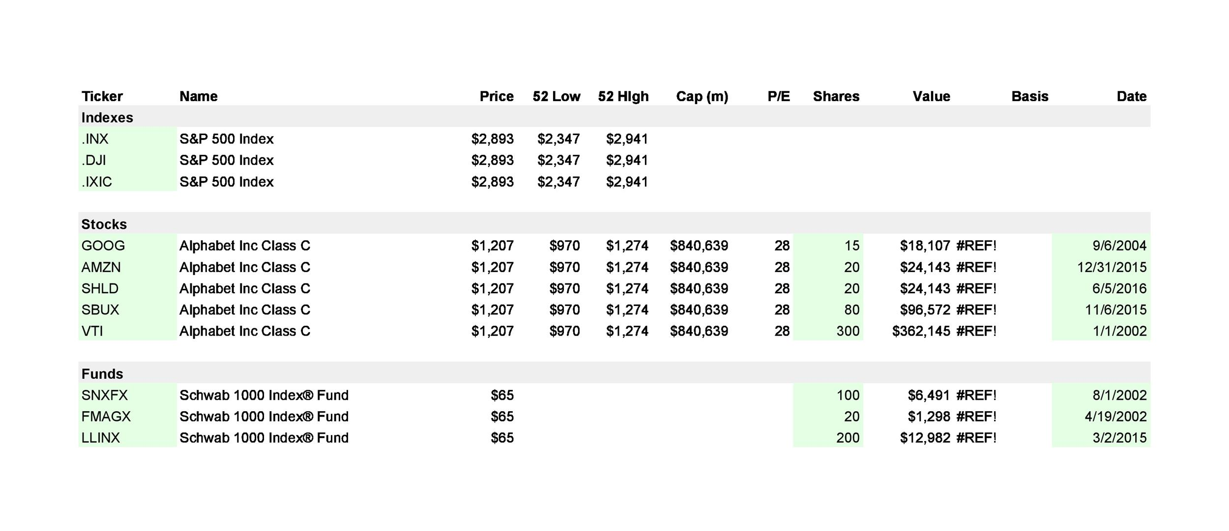 Free investment tracking spreadsheet 22