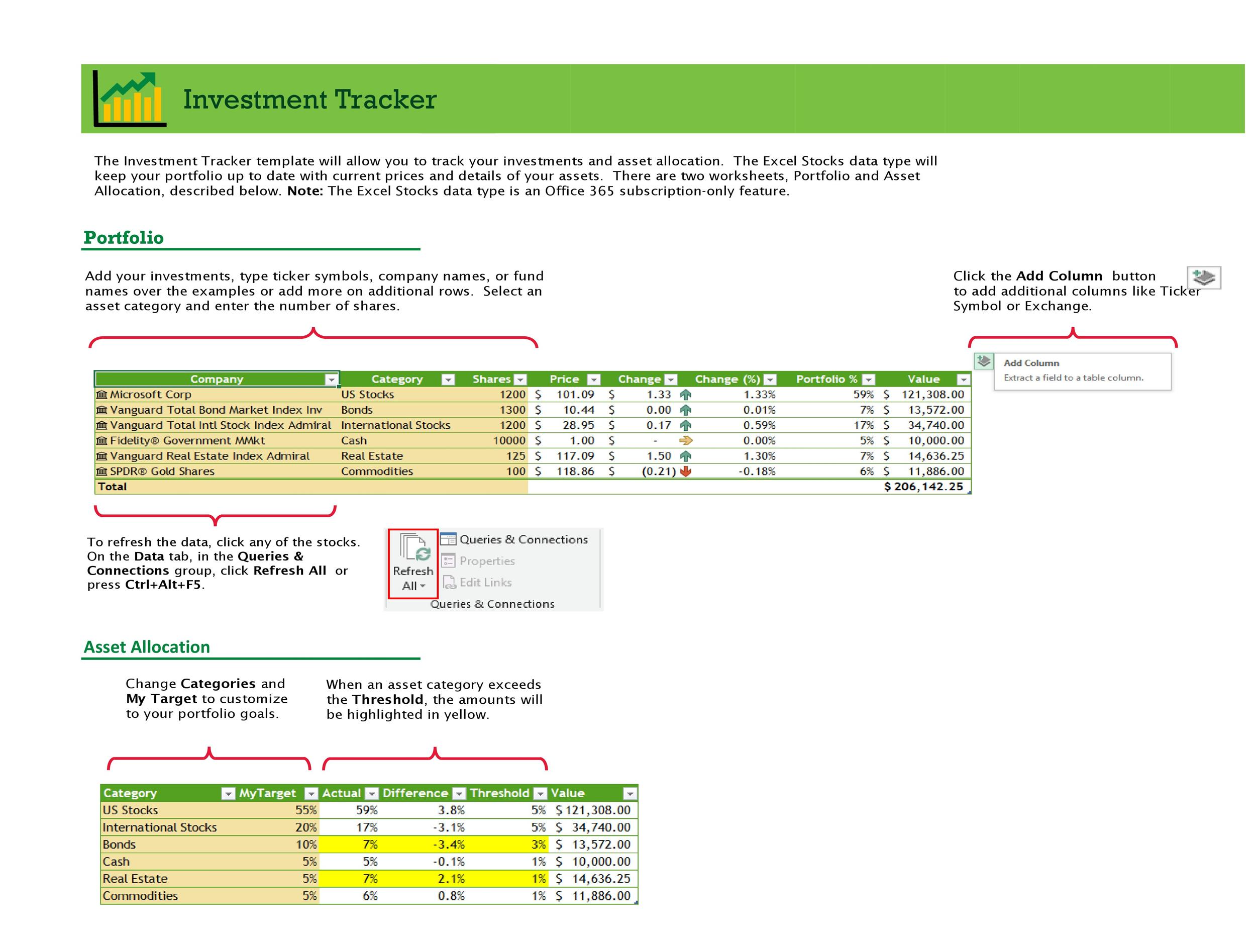 Free investment tracking spreadsheet 24