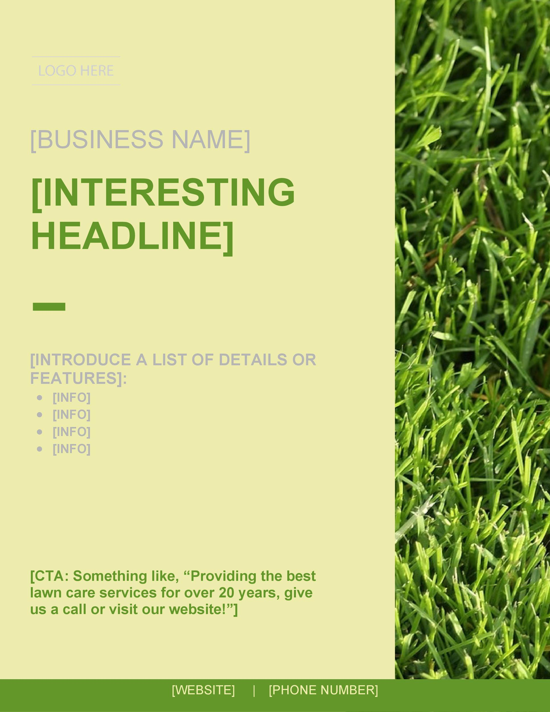 photograph relating to Printable Grass identify 30 Free of charge Property Treatment Flyer Templates [Garden Mower Flyers] ᐅ