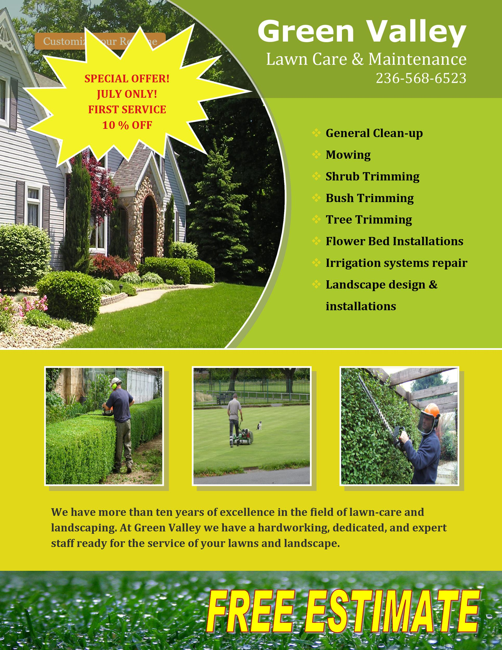 picture regarding Printable Grass titled 30 Totally free Property Treatment Flyer Templates [Garden Mower Flyers] ᐅ
