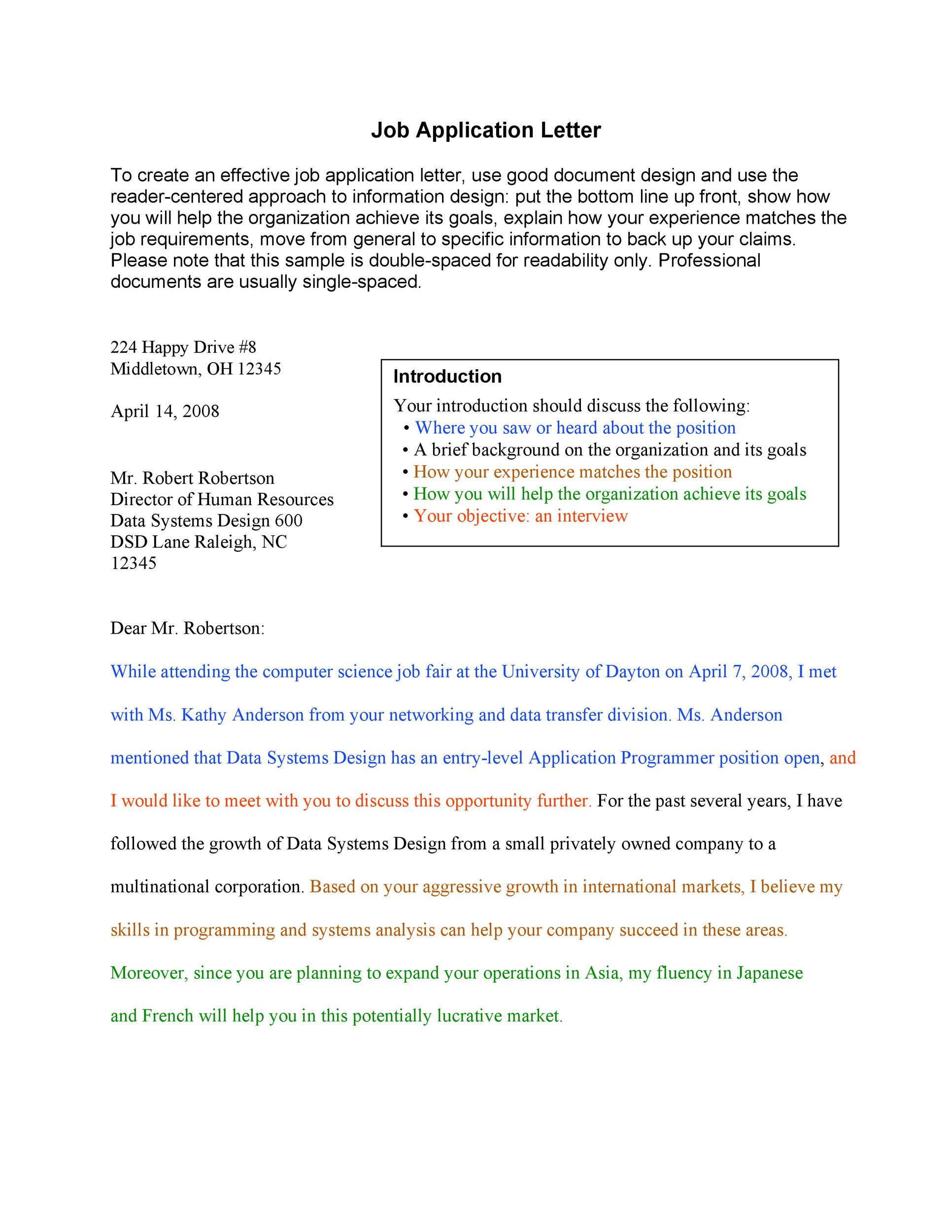 Free letter of application 29