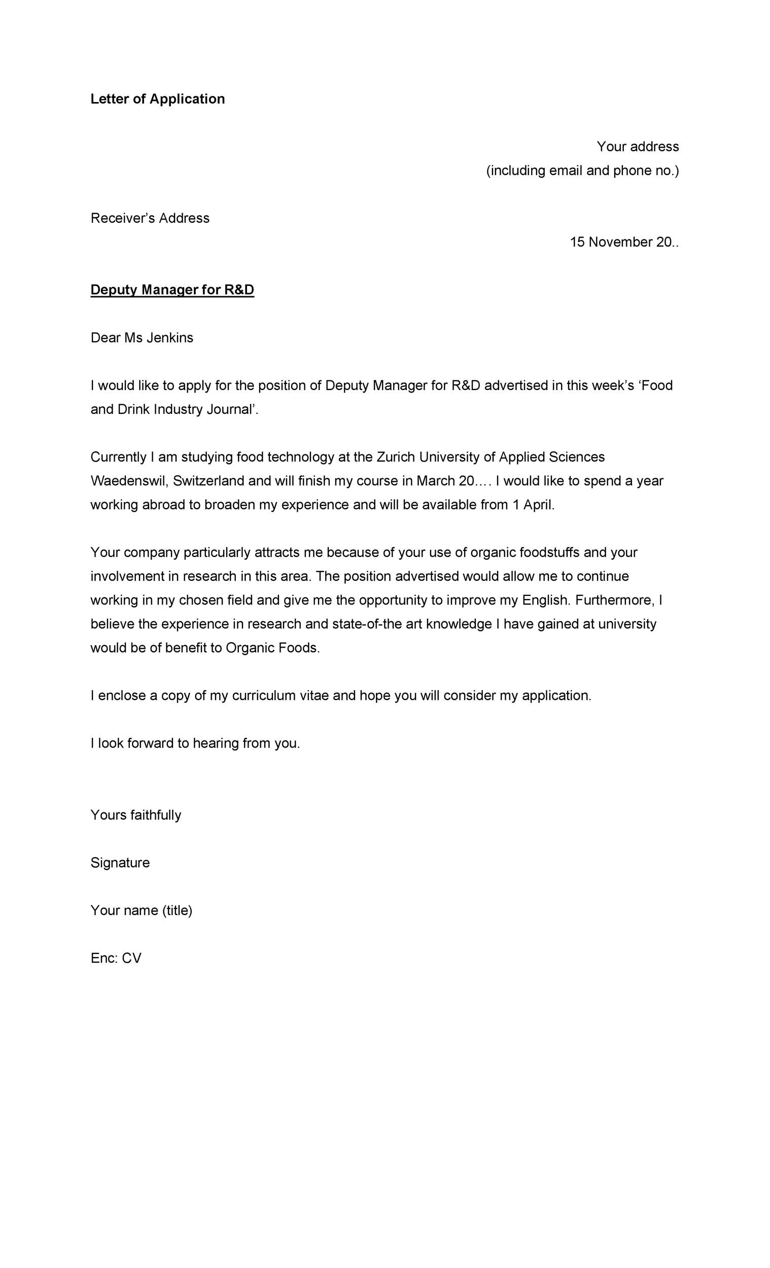 Free letter of application 40