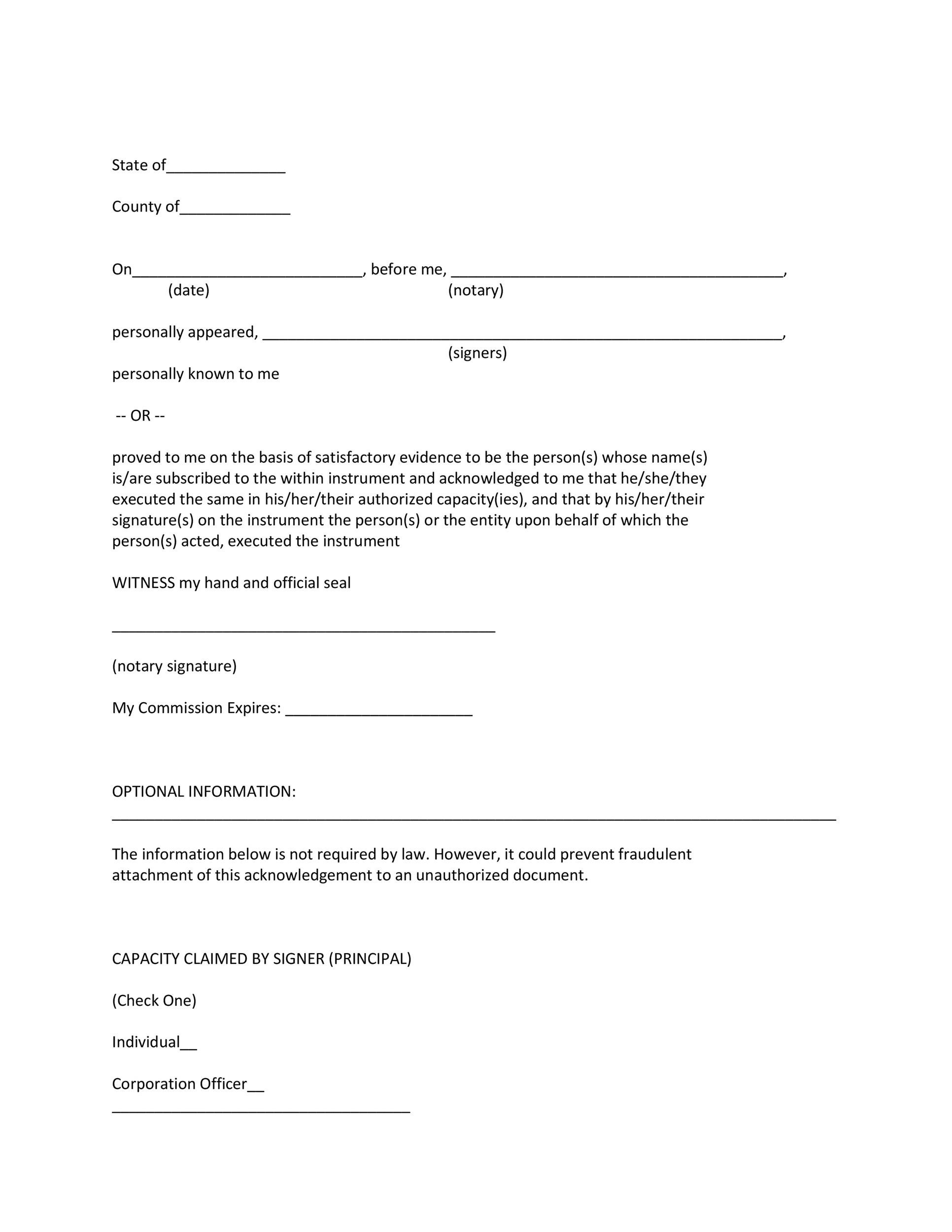 Free notary acknowledgement 01