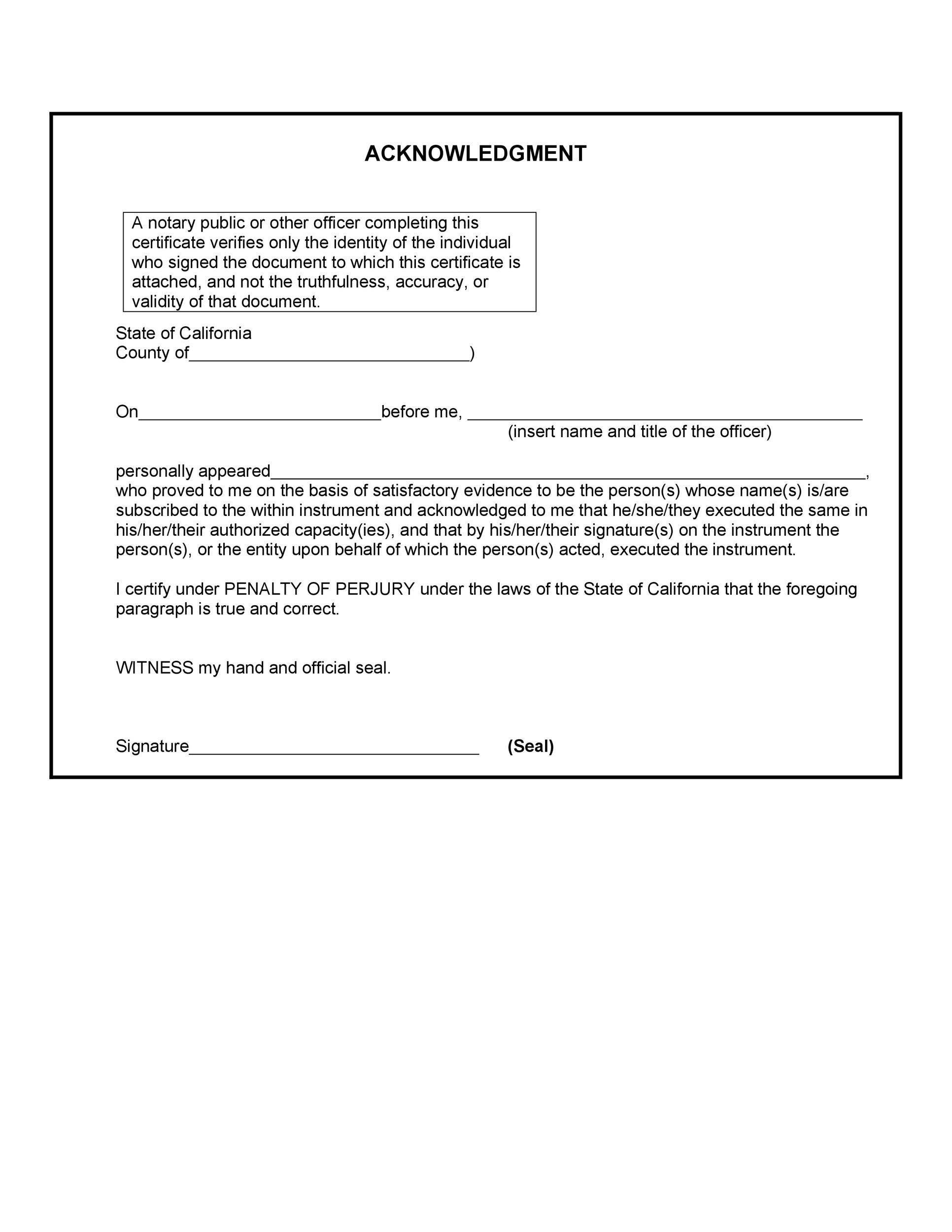 graphic about Printable Notary Forms named 40 Absolutely free Notary Acknowledgement Assertion Templates ᐅ
