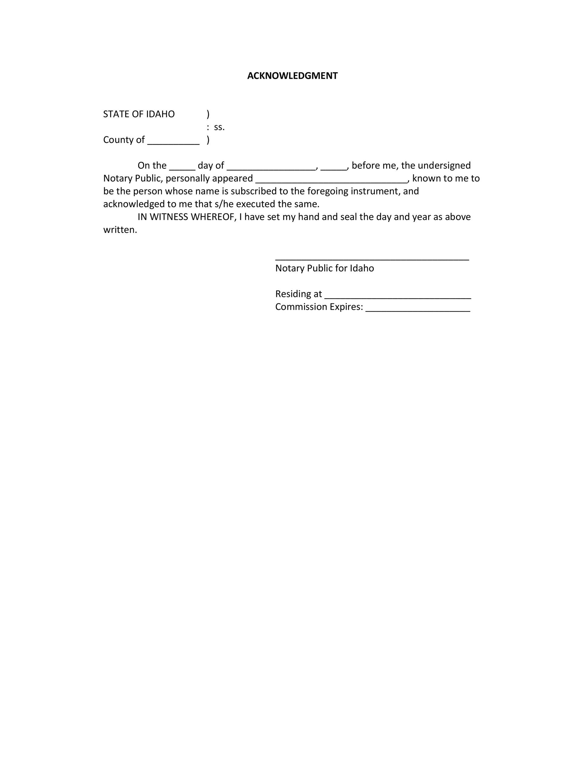 Free notary acknowledgement 06
