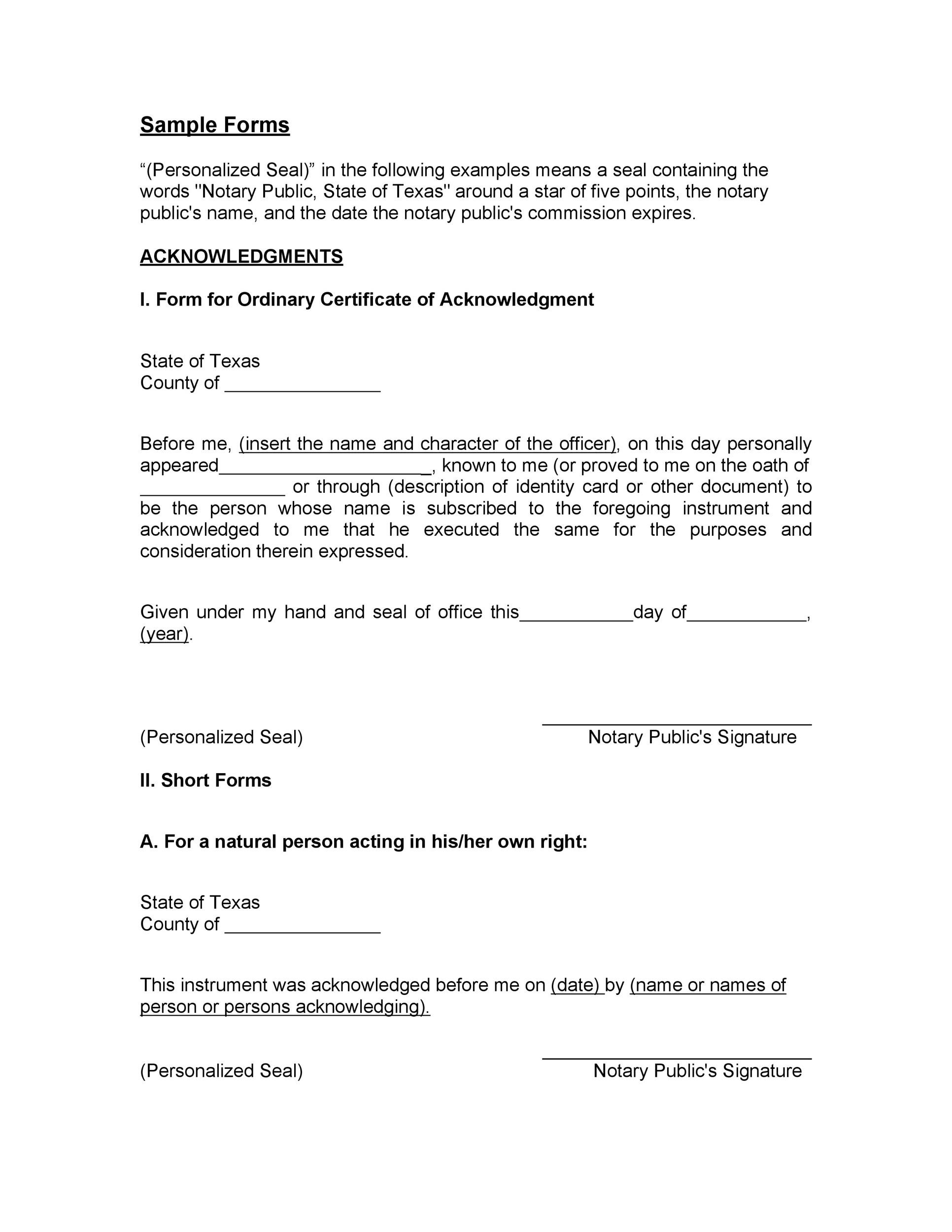 Free notary acknowledgement 07