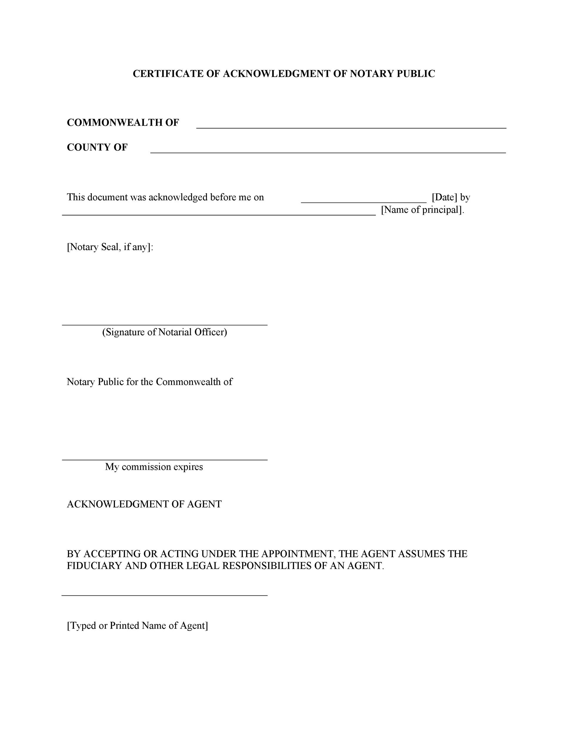 Free notary acknowledgement 14