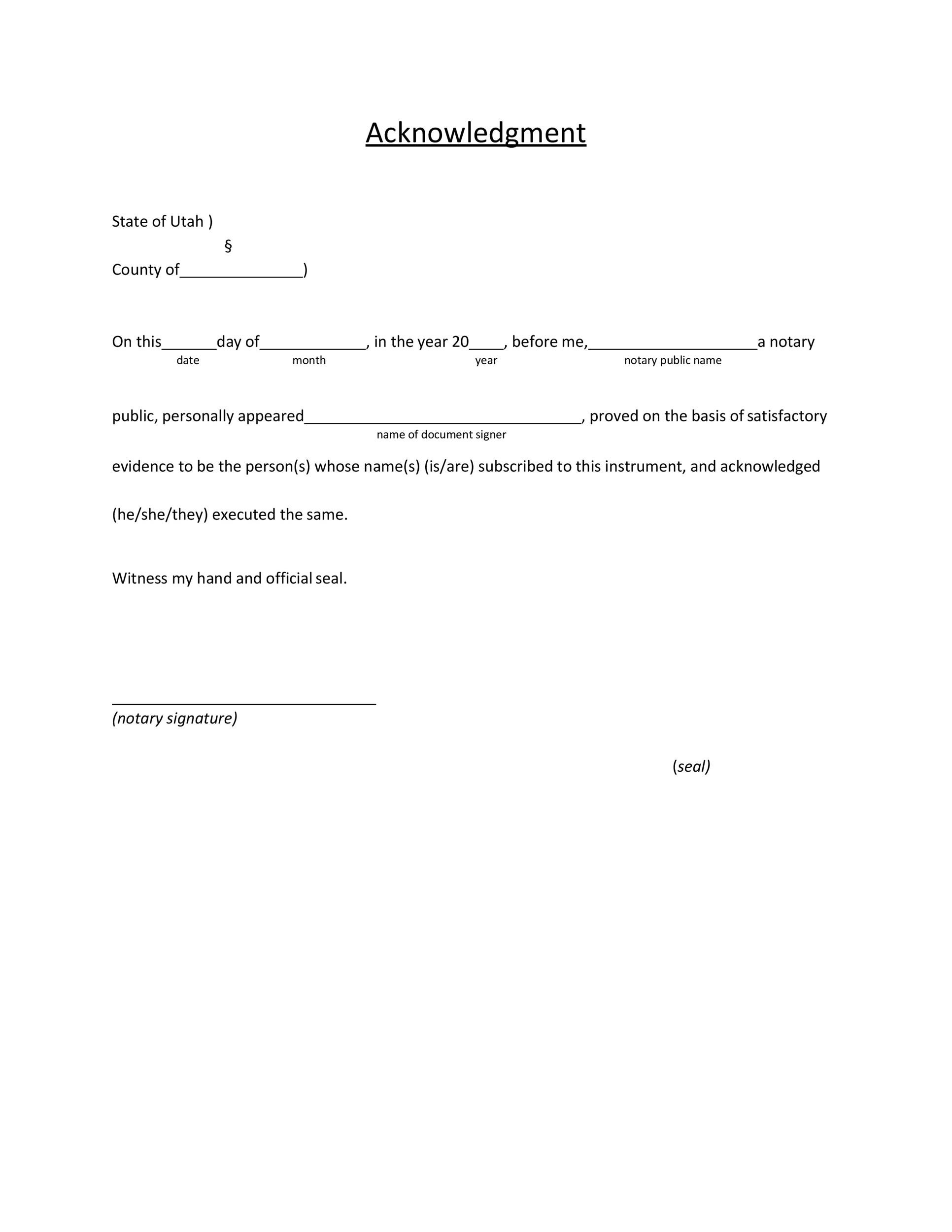 Free notary acknowledgement 15