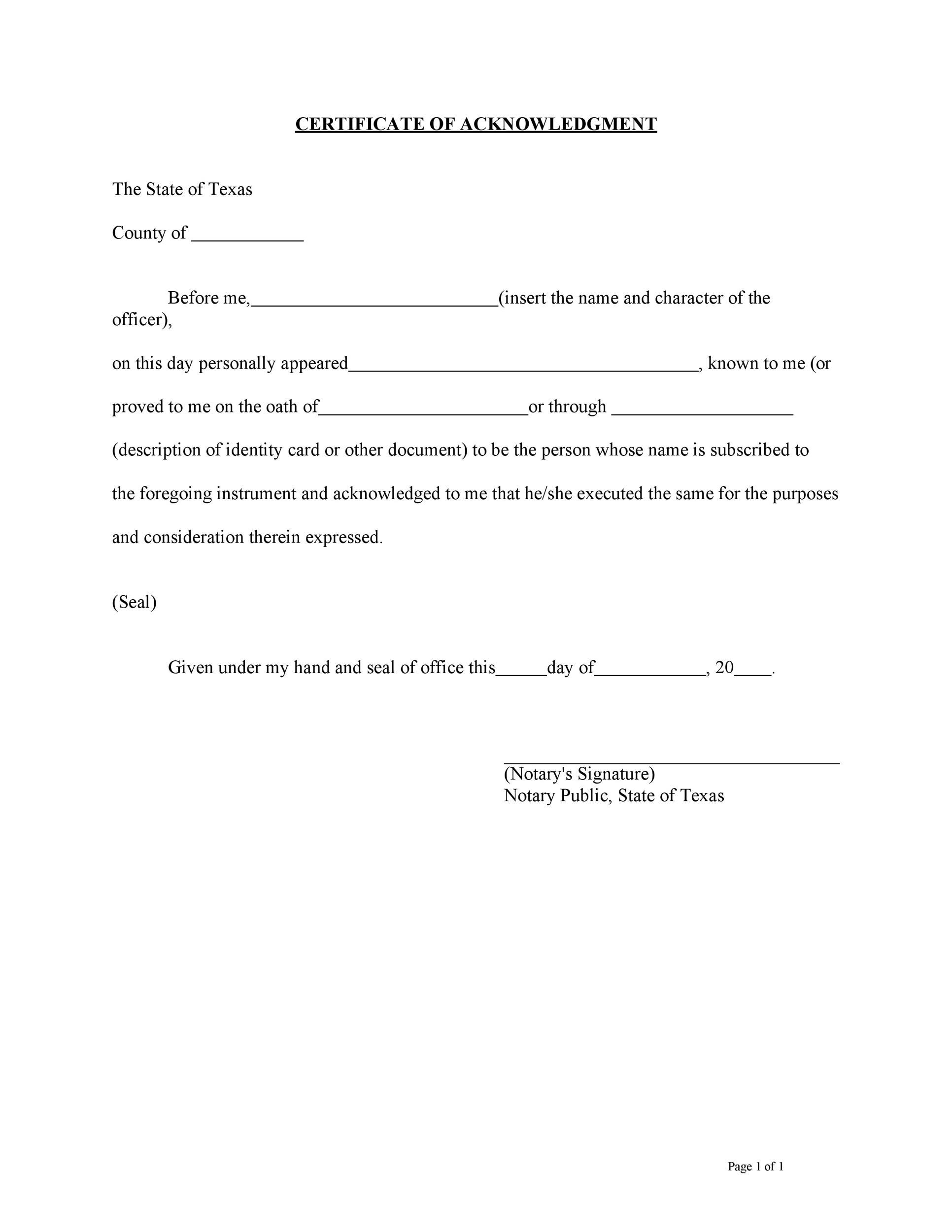 Free notary acknowledgement 24