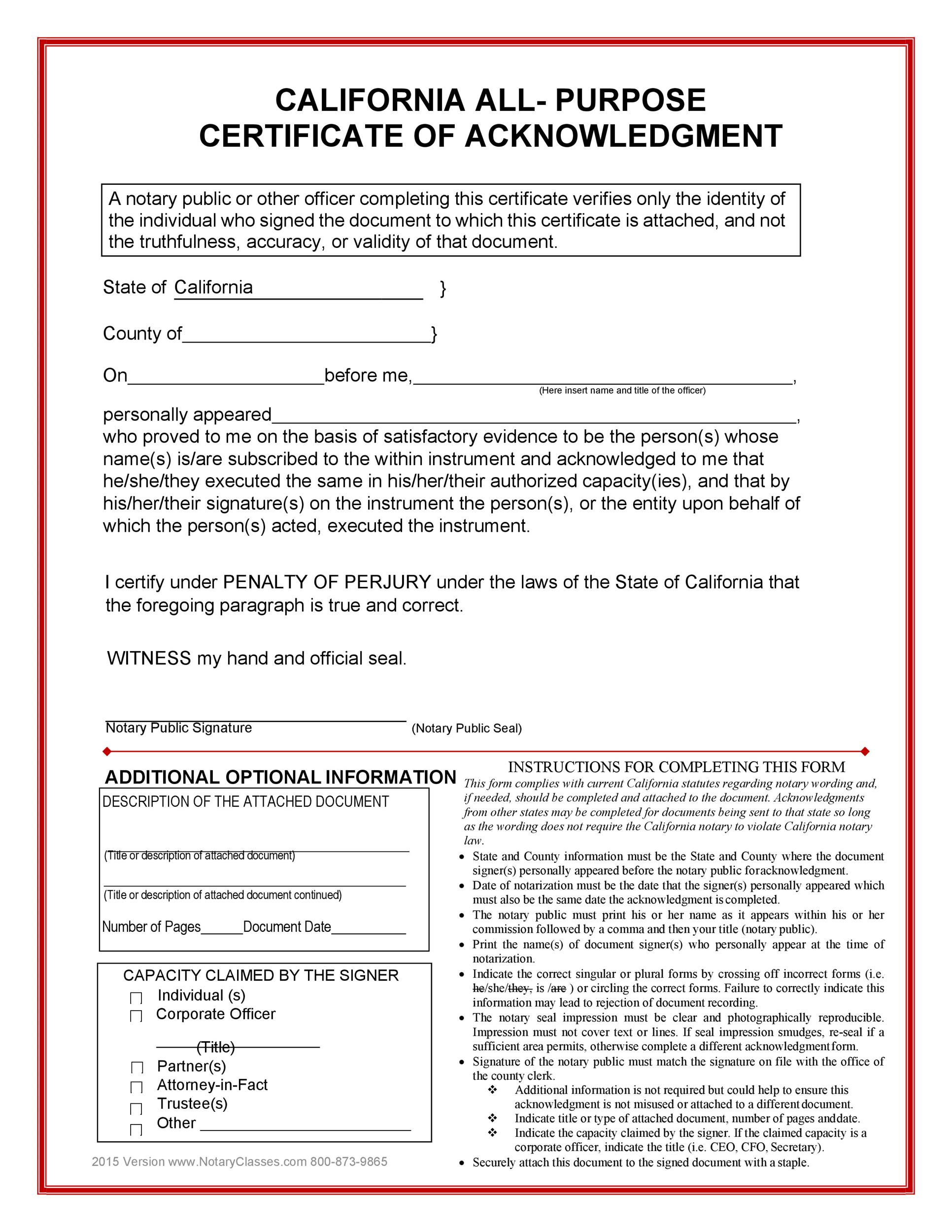 Free notary acknowledgement 27